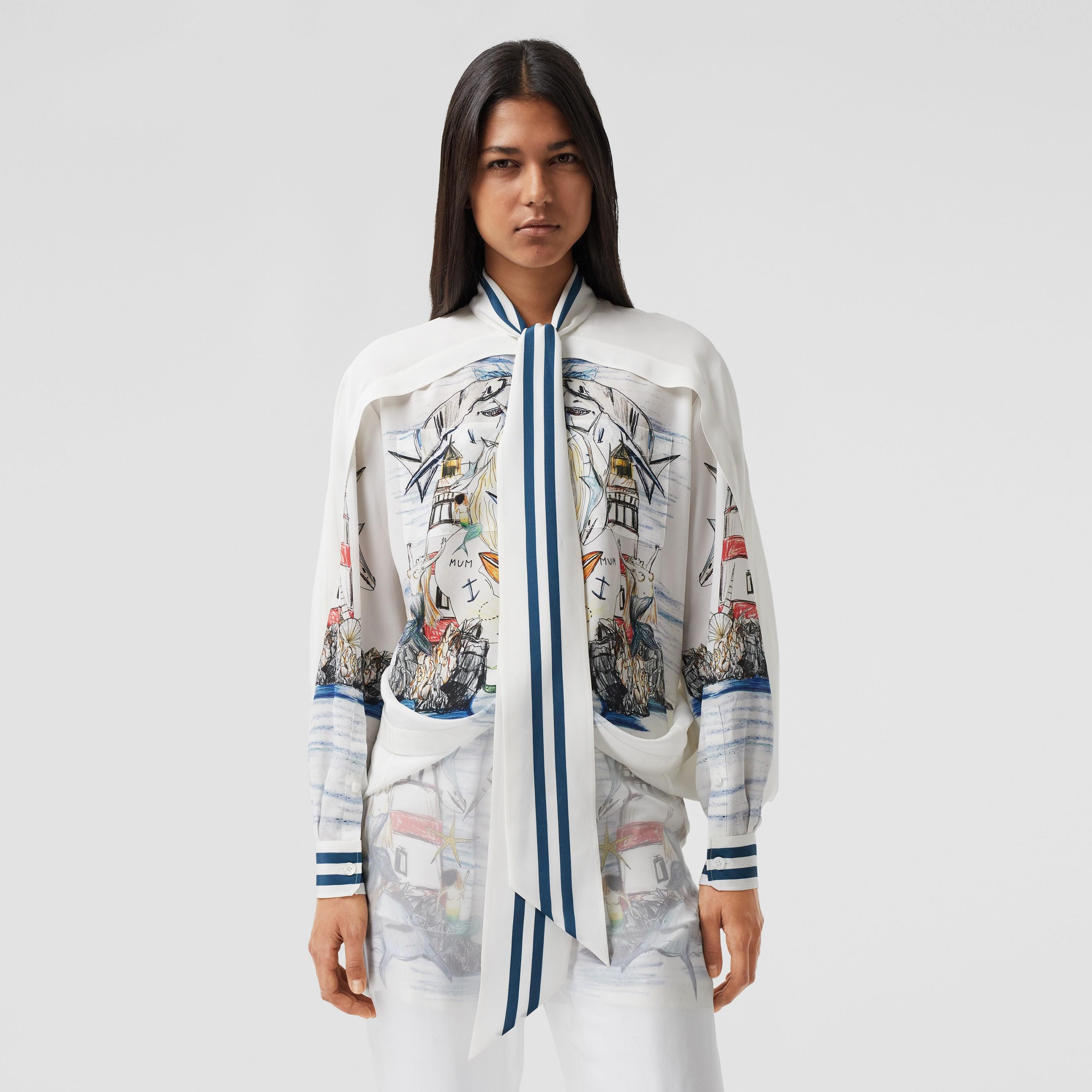 Camicia in seta con nastro al collo, dettaglio stile mantella e stampa marina (Bianco) - Donna | Burberry - 7