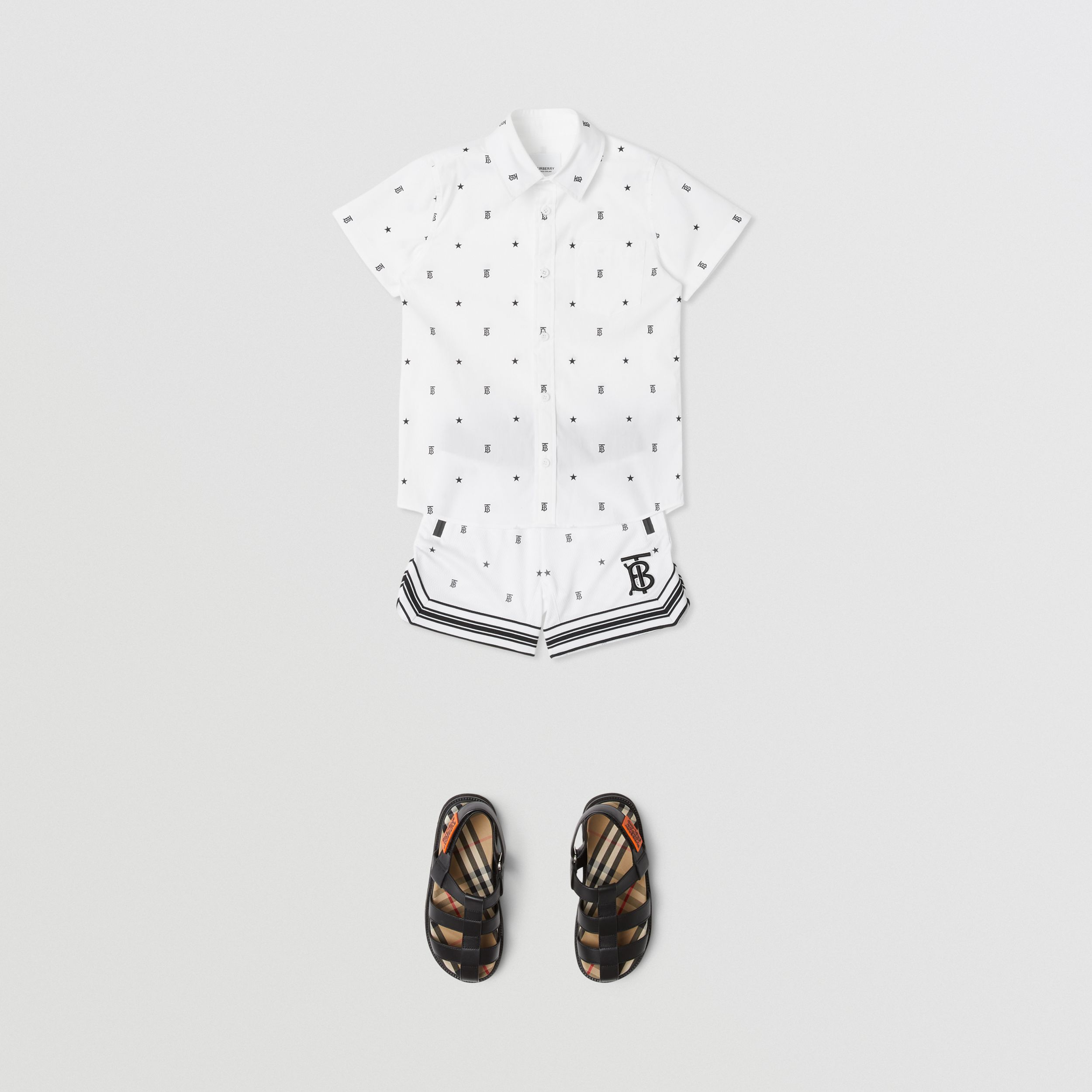 Short-sleeve Star and Monogram Motif Cotton Shirt in White | Burberry - 3