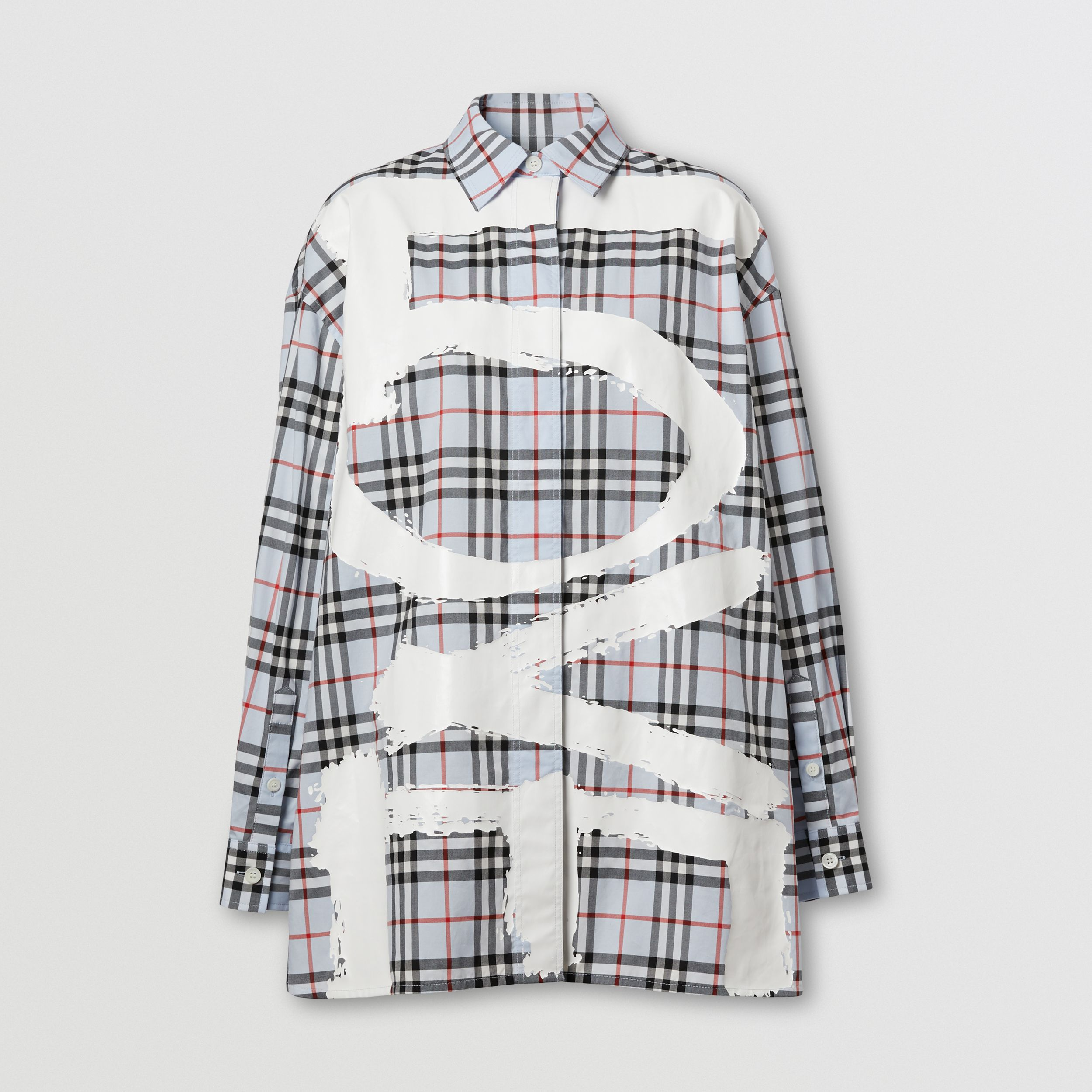 Love Print Vintage Check Cotton Oversized Shirt – Online Exclusive in Pale Blue - Women | Burberry - 4