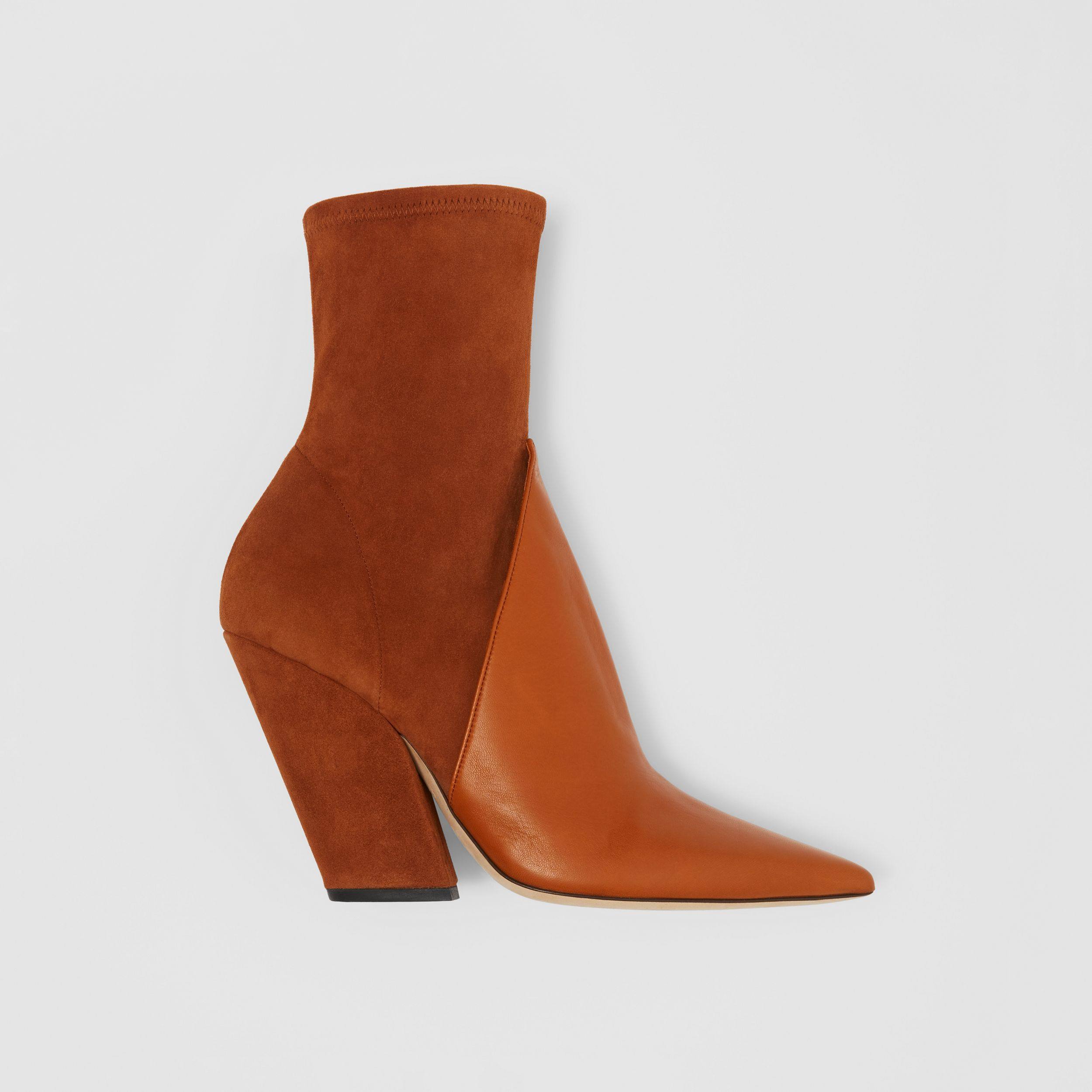 Panelled Suede and Lambskin Ankle Boots in Nutmeg - Women | Burberry - 1