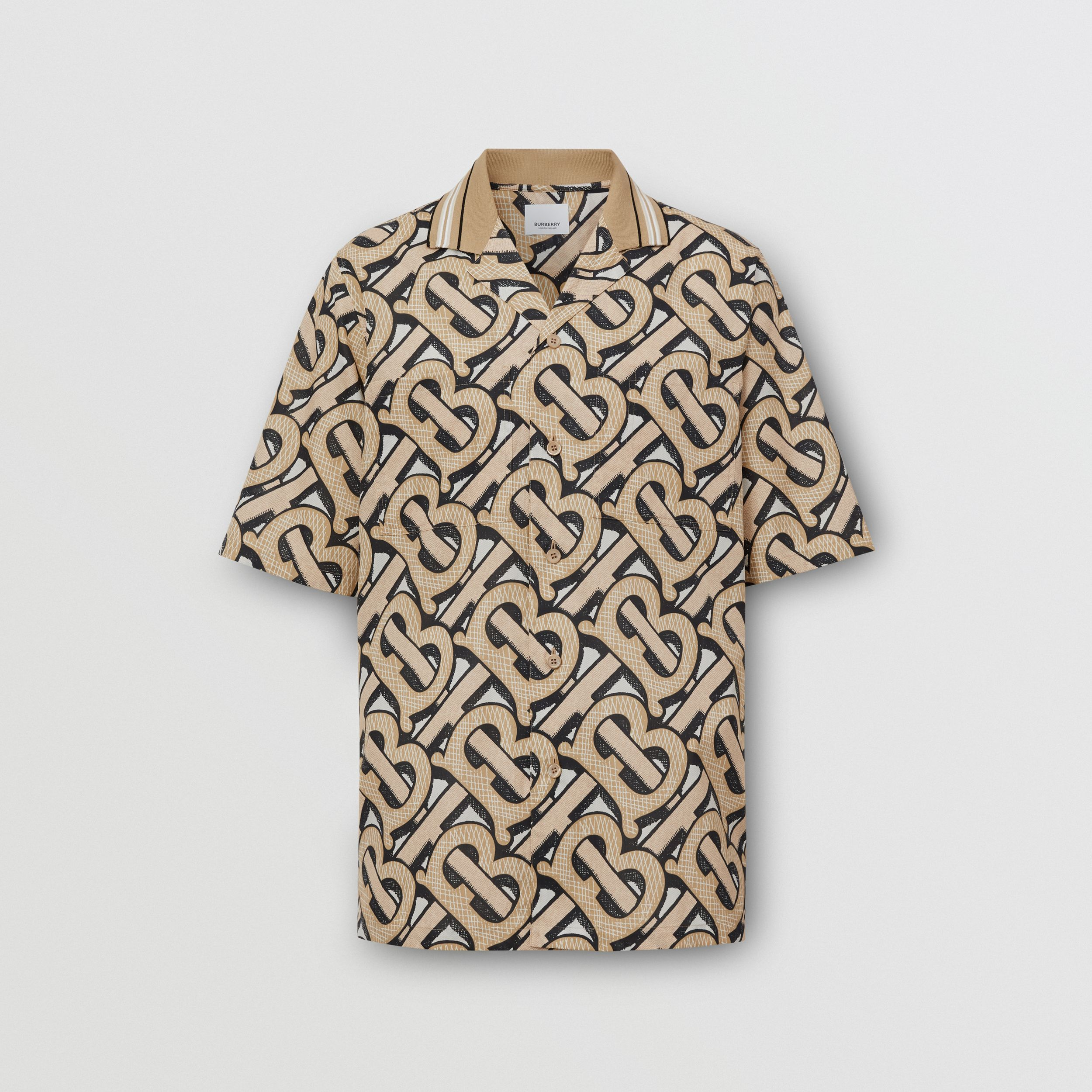 Short-sleeve Monogram Print Cotton Shirt – Unisex in Dark Beige | Burberry - 1