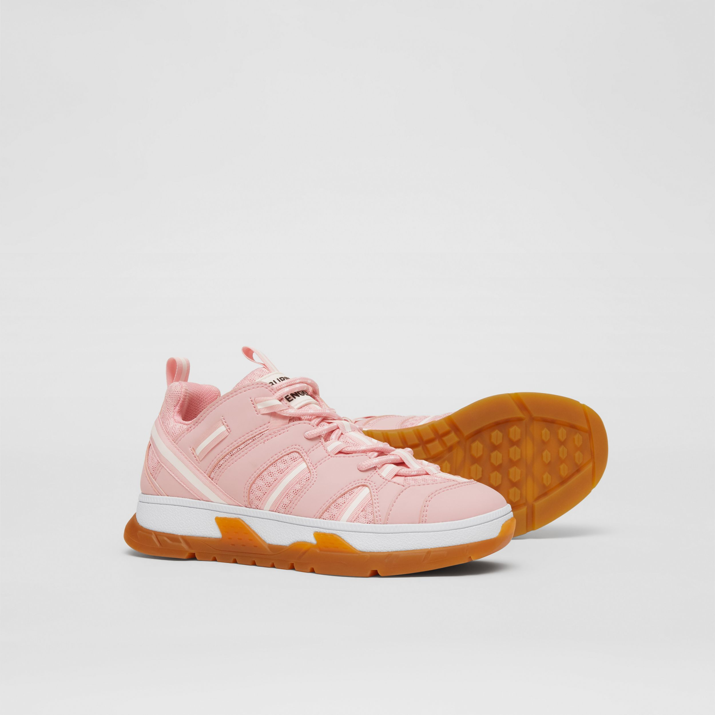 Nylon and Mesh Union Sneakers in Candy Pink - Children | Burberry - 4