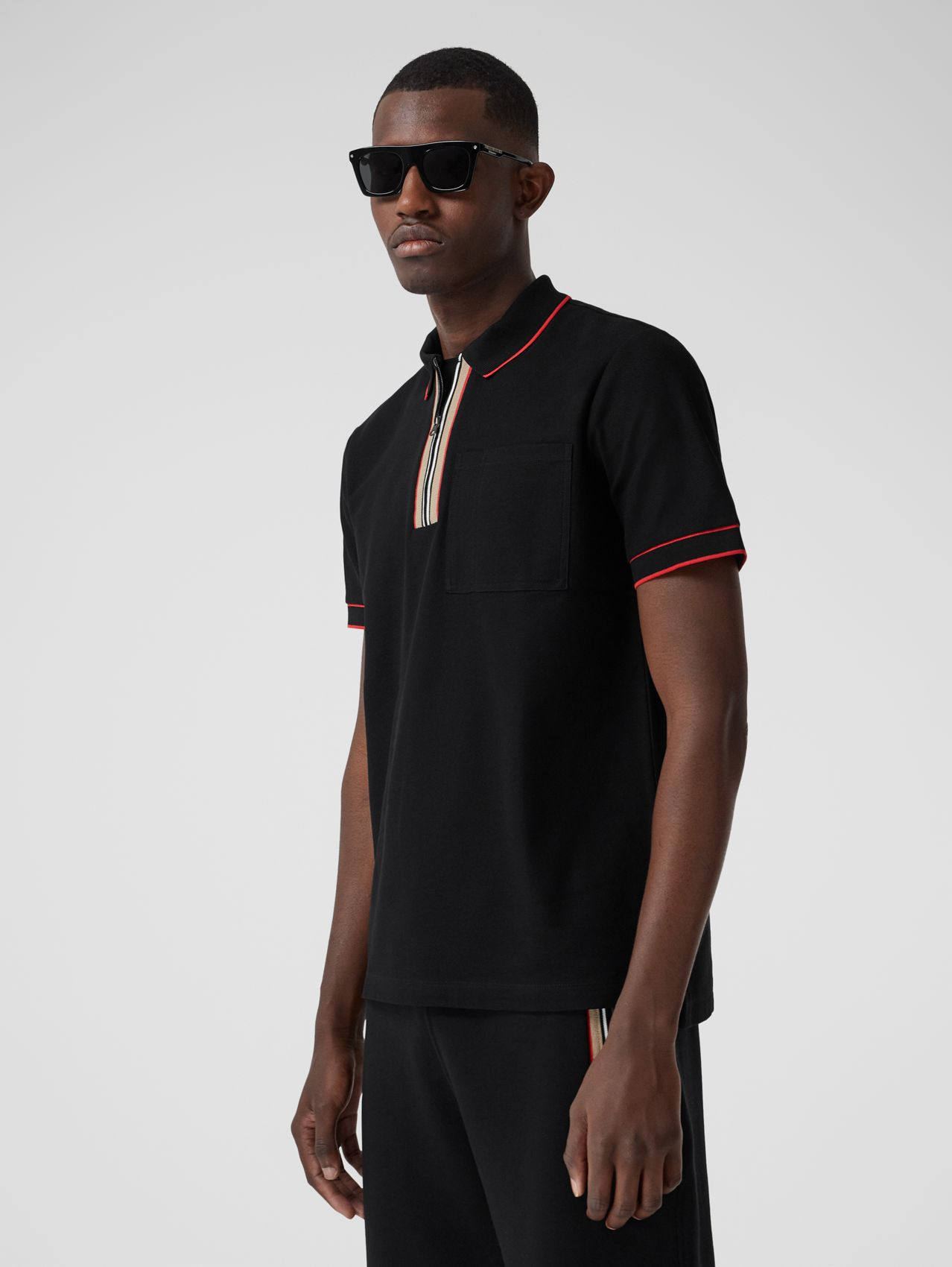Icon Stripe Detail Cotton Zip-front Polo Shirt in Black
