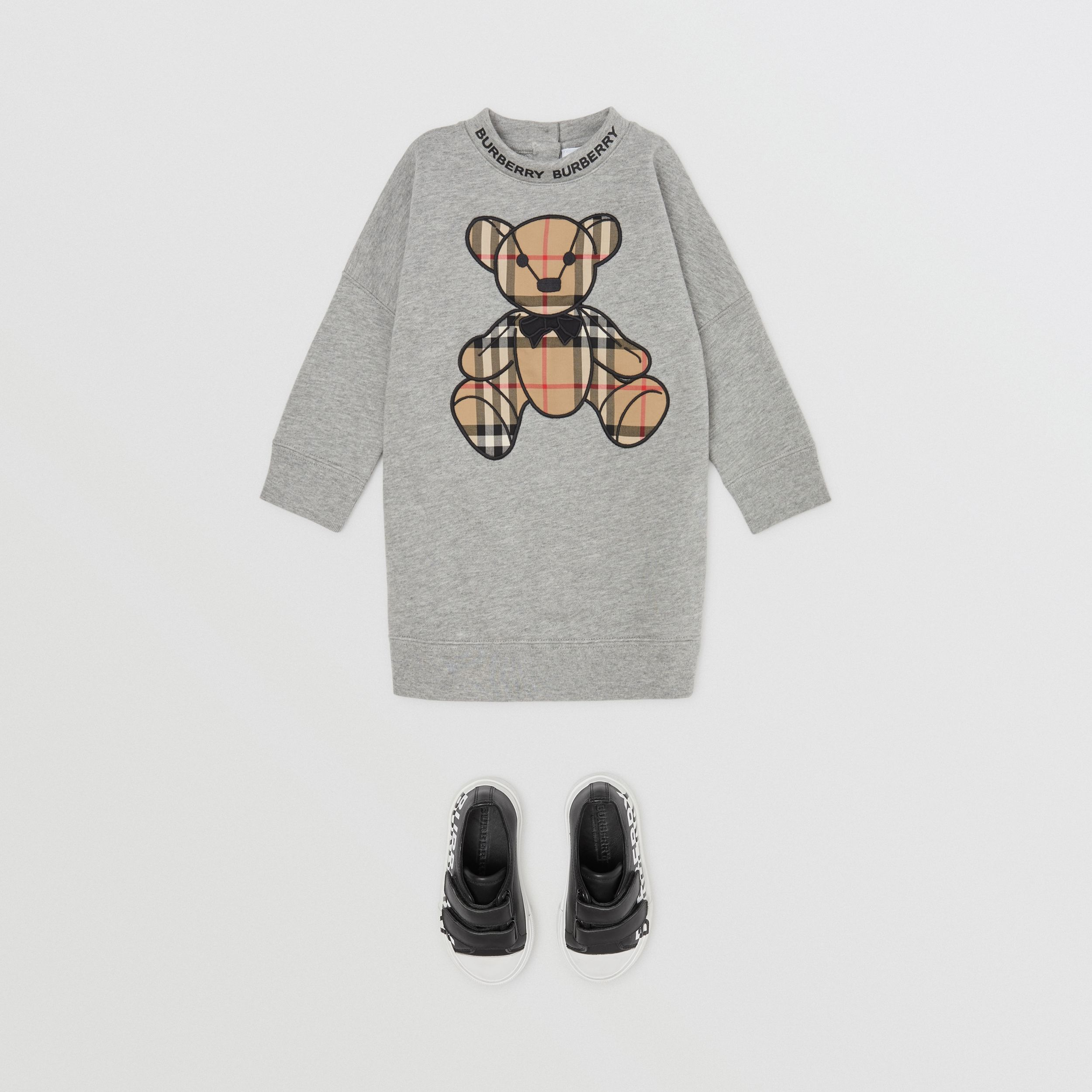 Thomas Bear Appliqué Cotton Sweater Dress in Grey Melange - Children | Burberry - 3