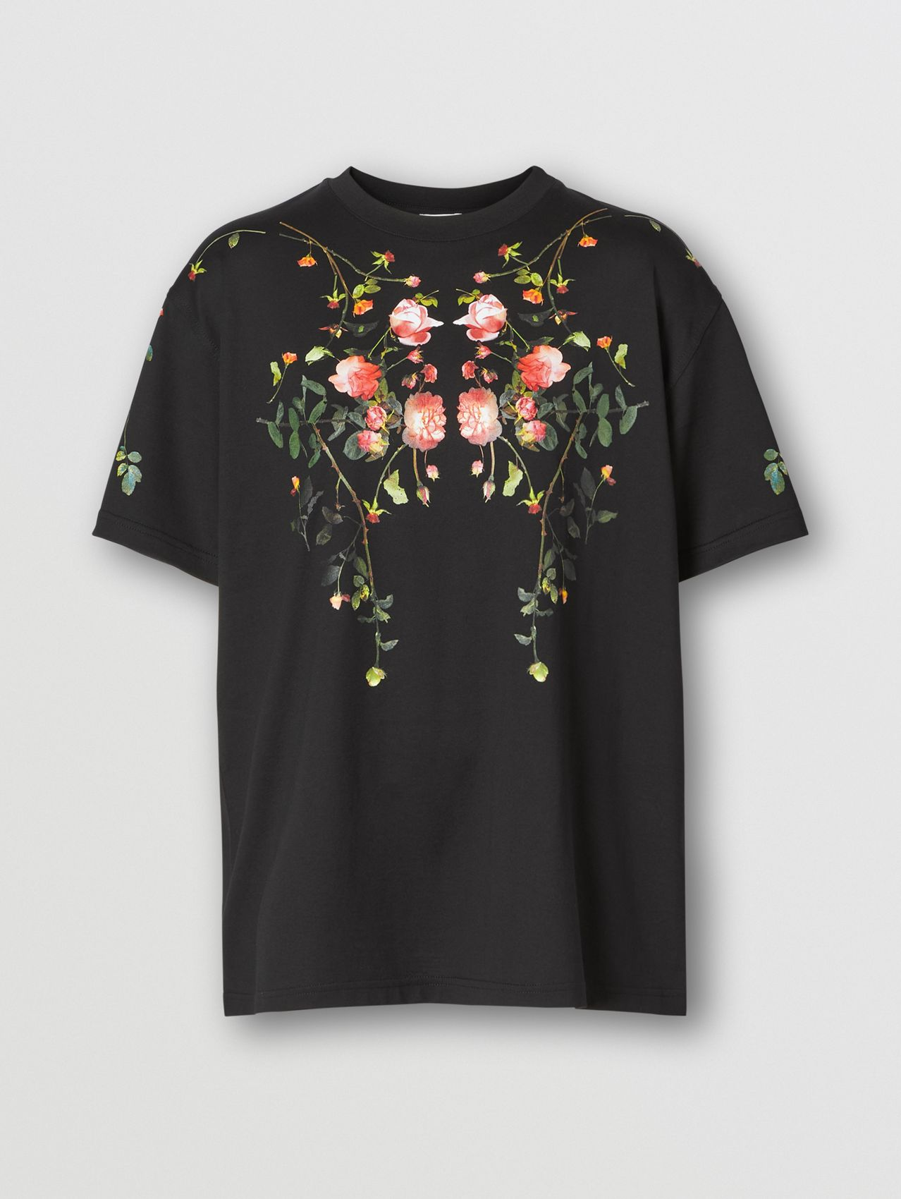 Rose Print Cotton Oversized T-shirt in Black