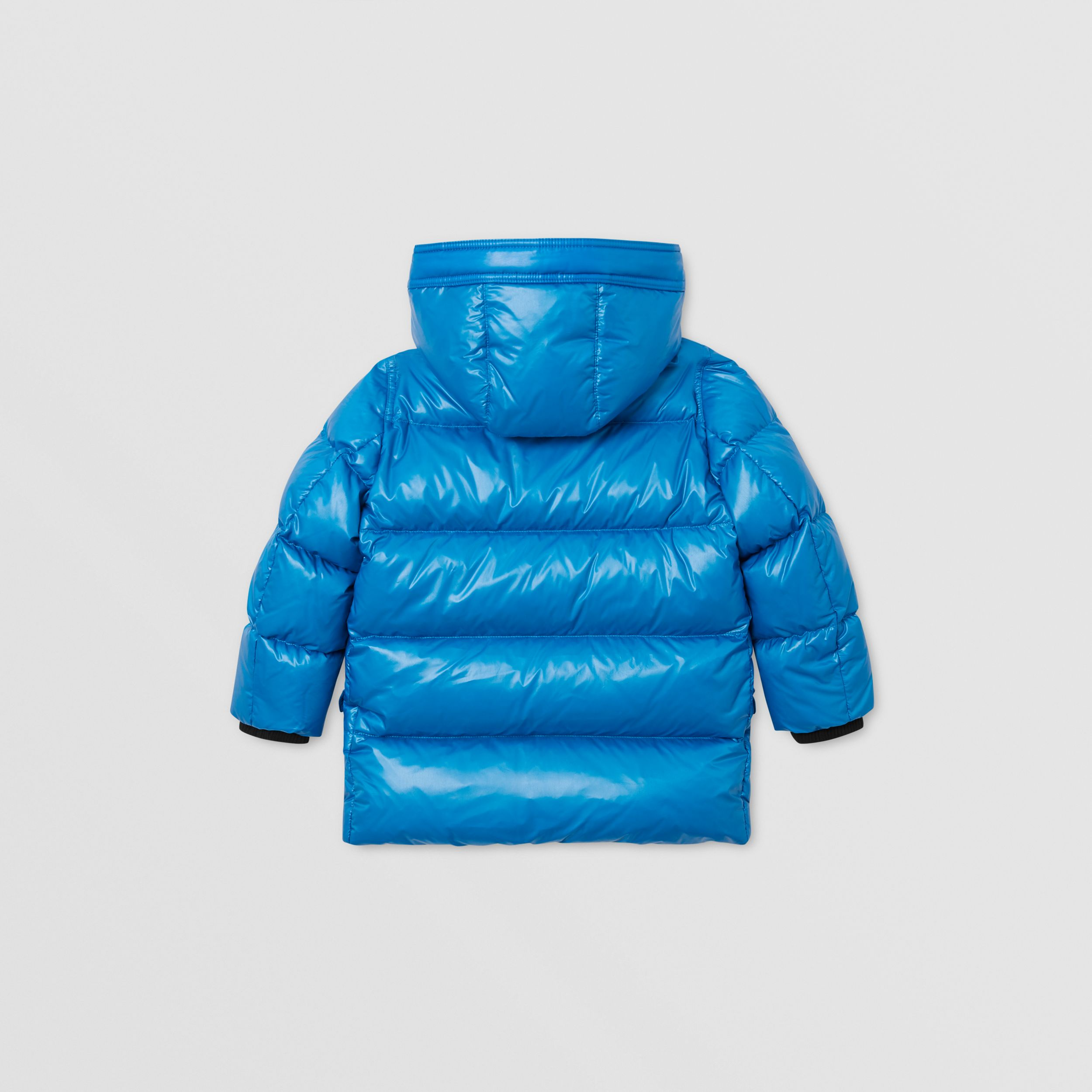 Icon Stripe Trim Hooded Puffer Coat in Cerulean Blue | Burberry - 4