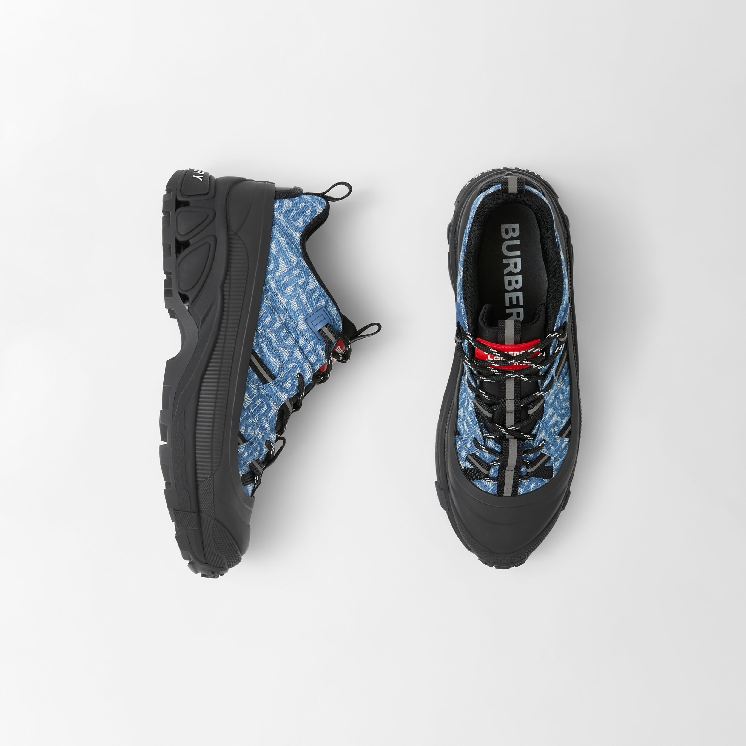 Monogram Print Denim and Leather Arthur Sneakers in Black/blue - Men | Burberry - 1