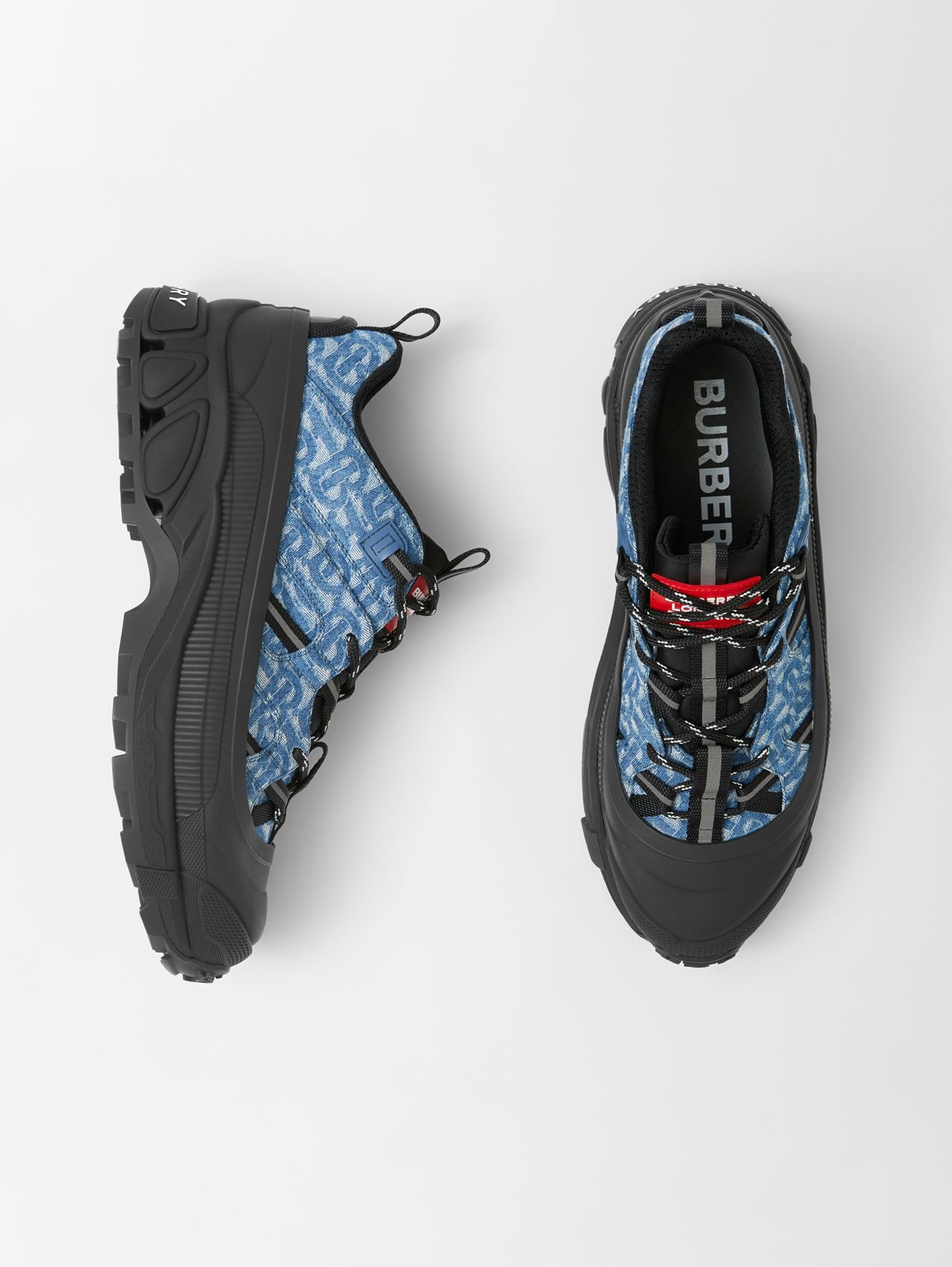 Monogram Print Denim and Leather Arthur Sneakers in Black/blue