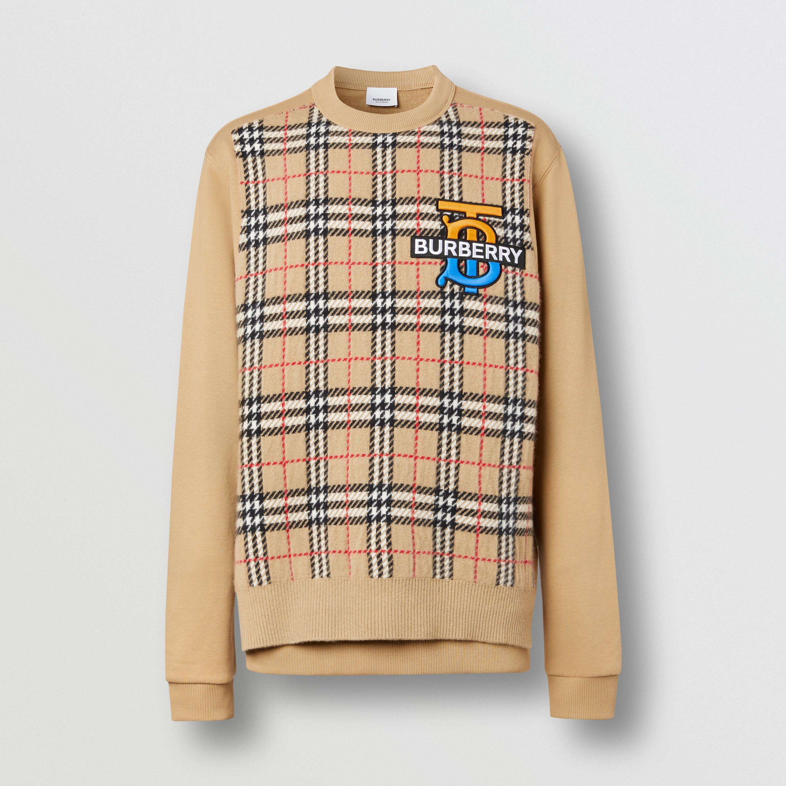 Monogram Motif Check Cashmere Panel Sweatshirt in Archive Beige - Men | Burberry Canada - 4