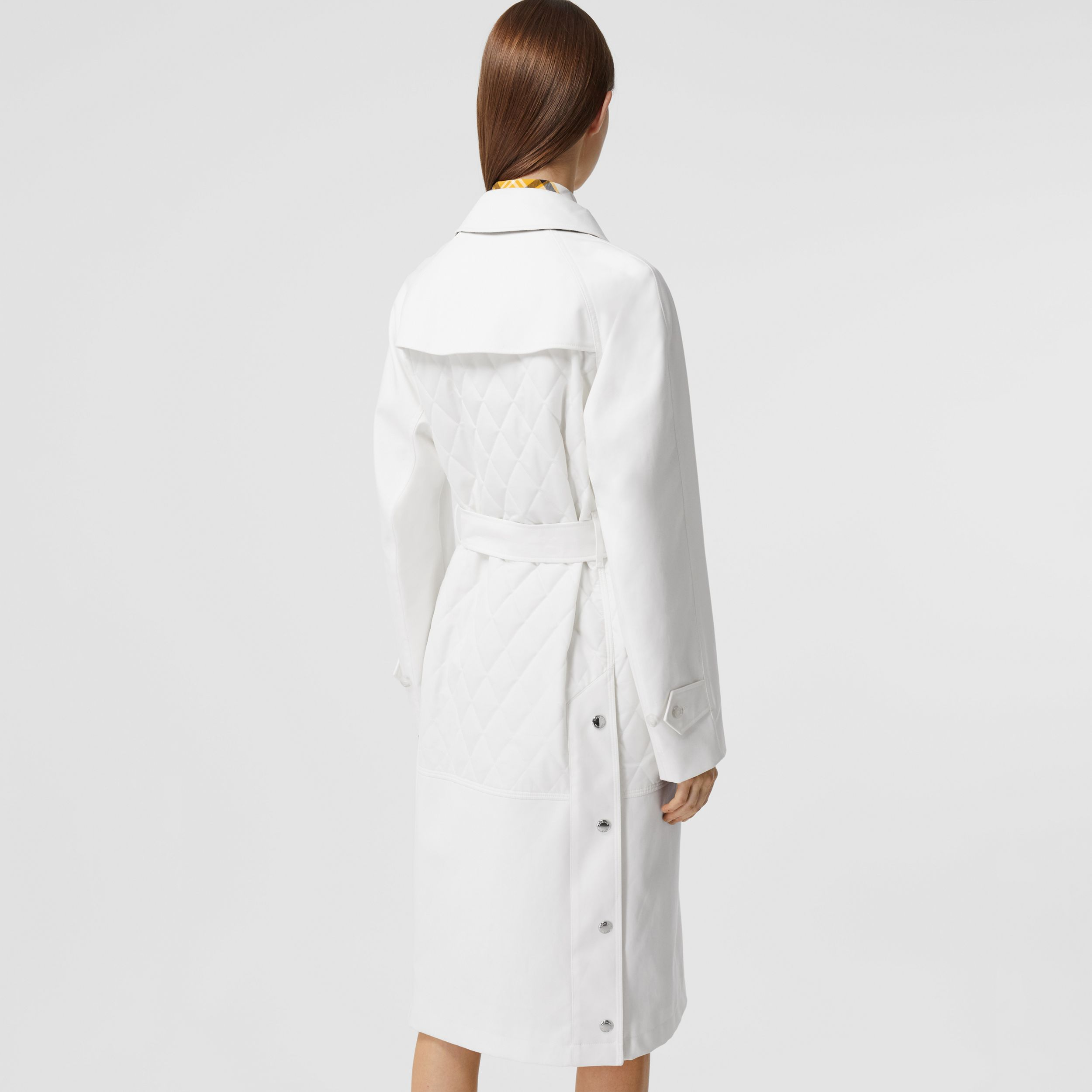 Diamond Quilted Panel Cotton Gabardine Car Coat in Natural White - Women | Burberry - 3