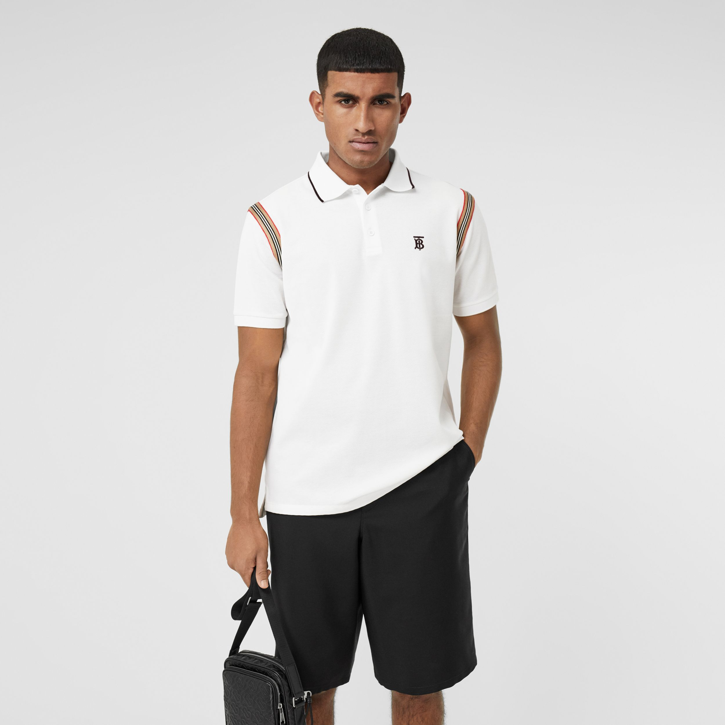 Icon Stripe Trim Monogram Motif Cotton Polo Shirt in White - Men | Burberry - 1