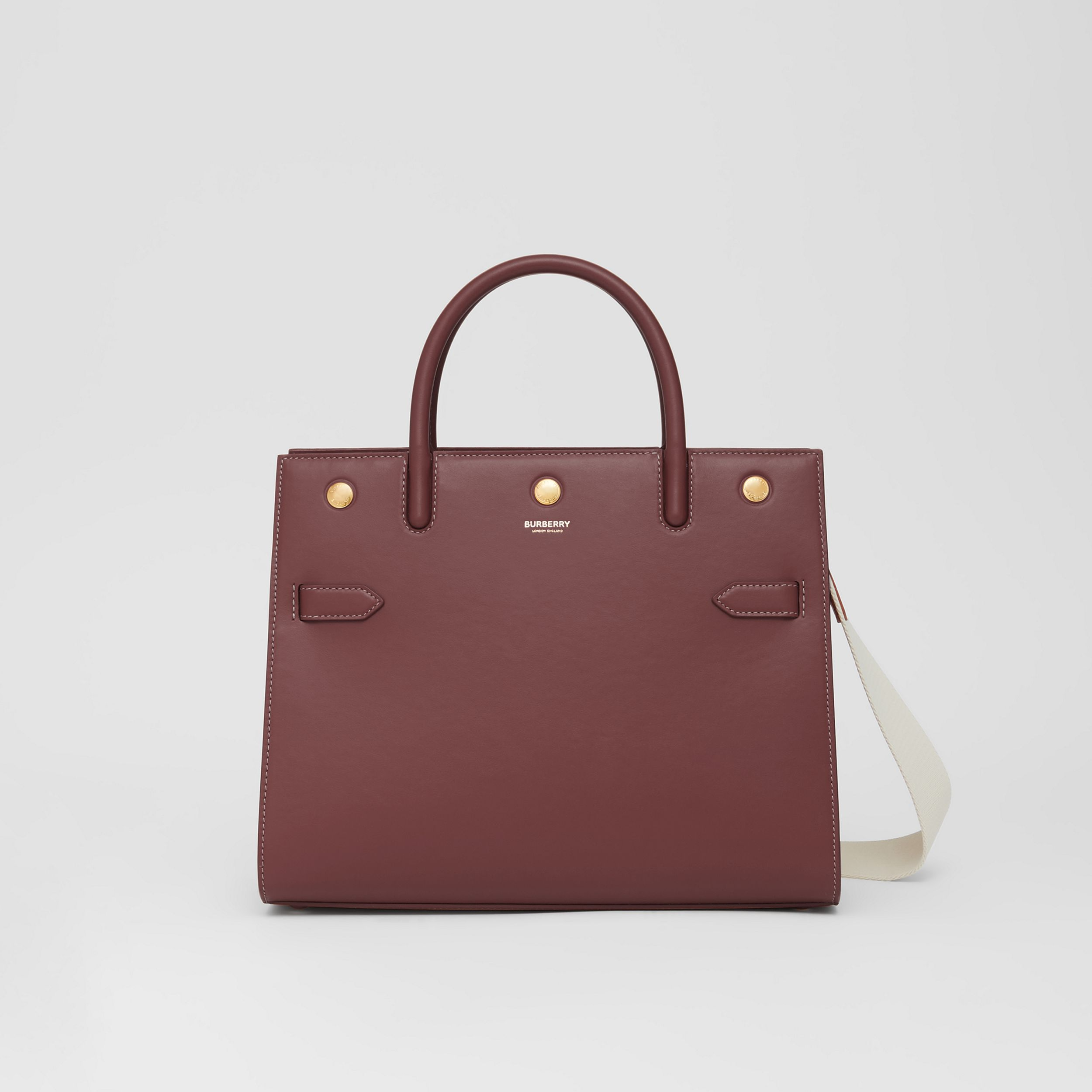 Medium Leather Two-handle Title Bag in Garnet - Women | Burberry Australia - 1