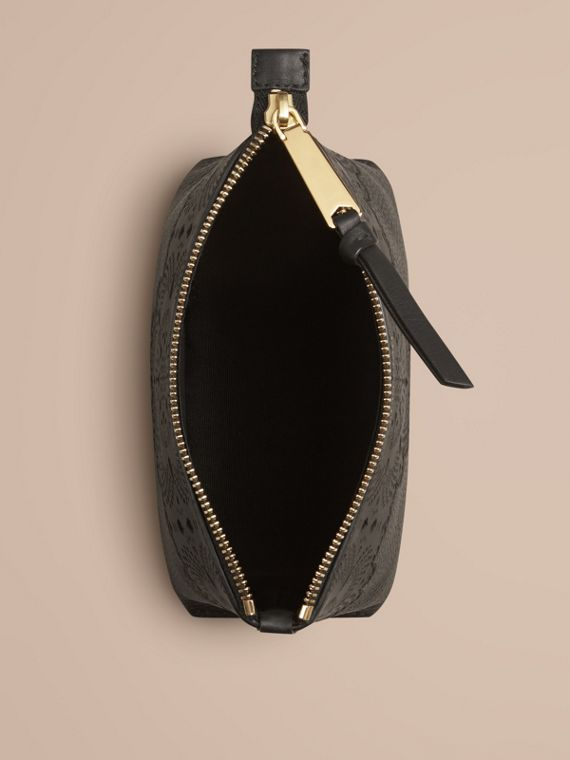 Black Medium Grainy Leather Beauty Pouch - cell image 2