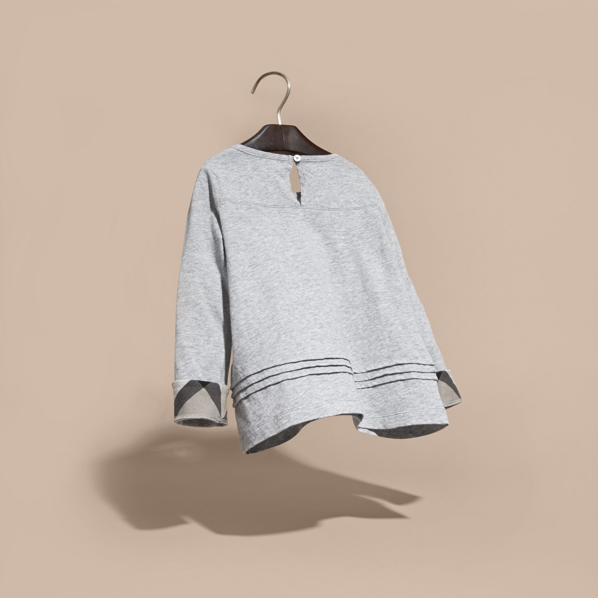 Grey melange Long-sleeved Pleat Detail Check Cotton T-Shirt Grey Melange - gallery image 4