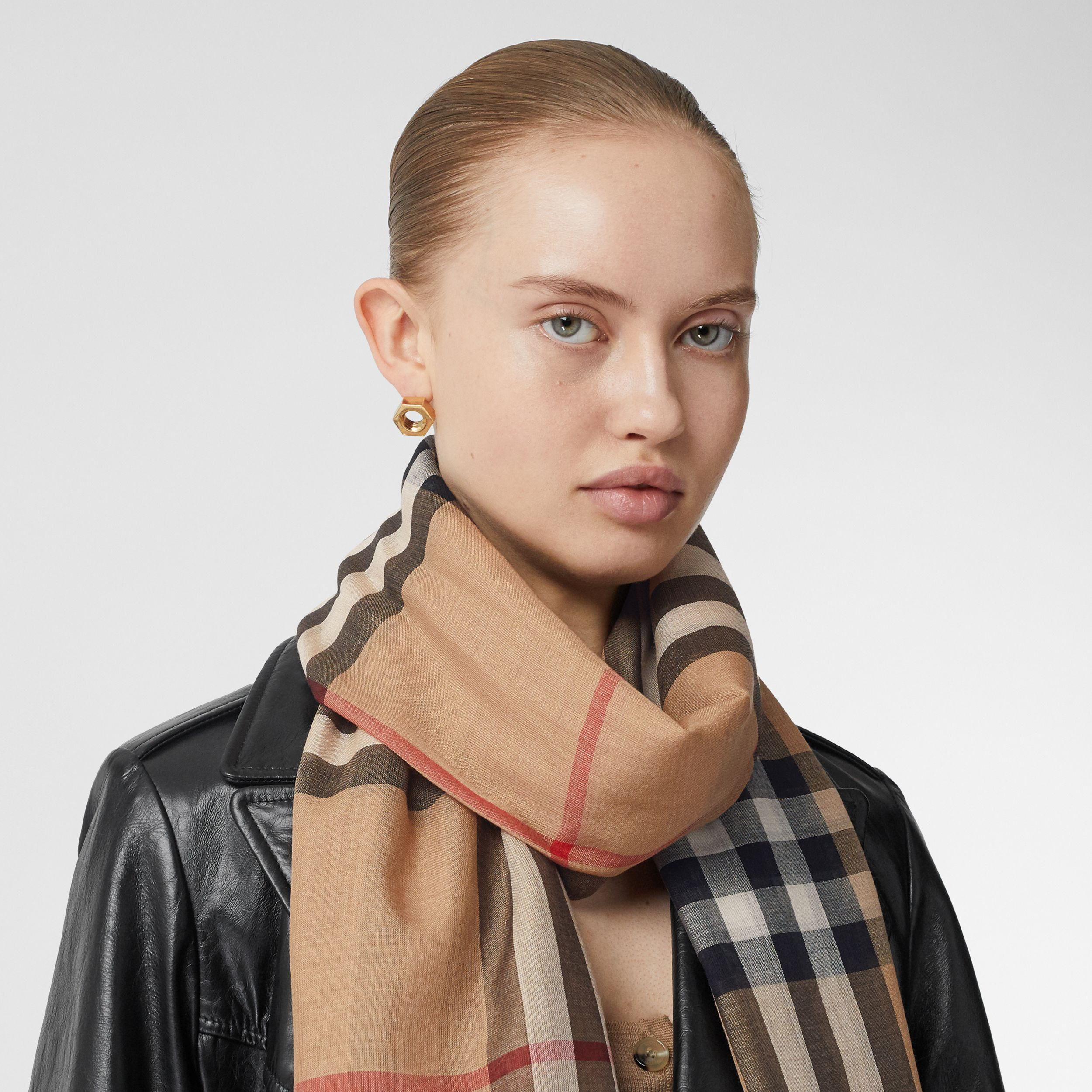 Lightweight Check Wool Silk Scarf in Archive Beige | Burberry Canada - 3