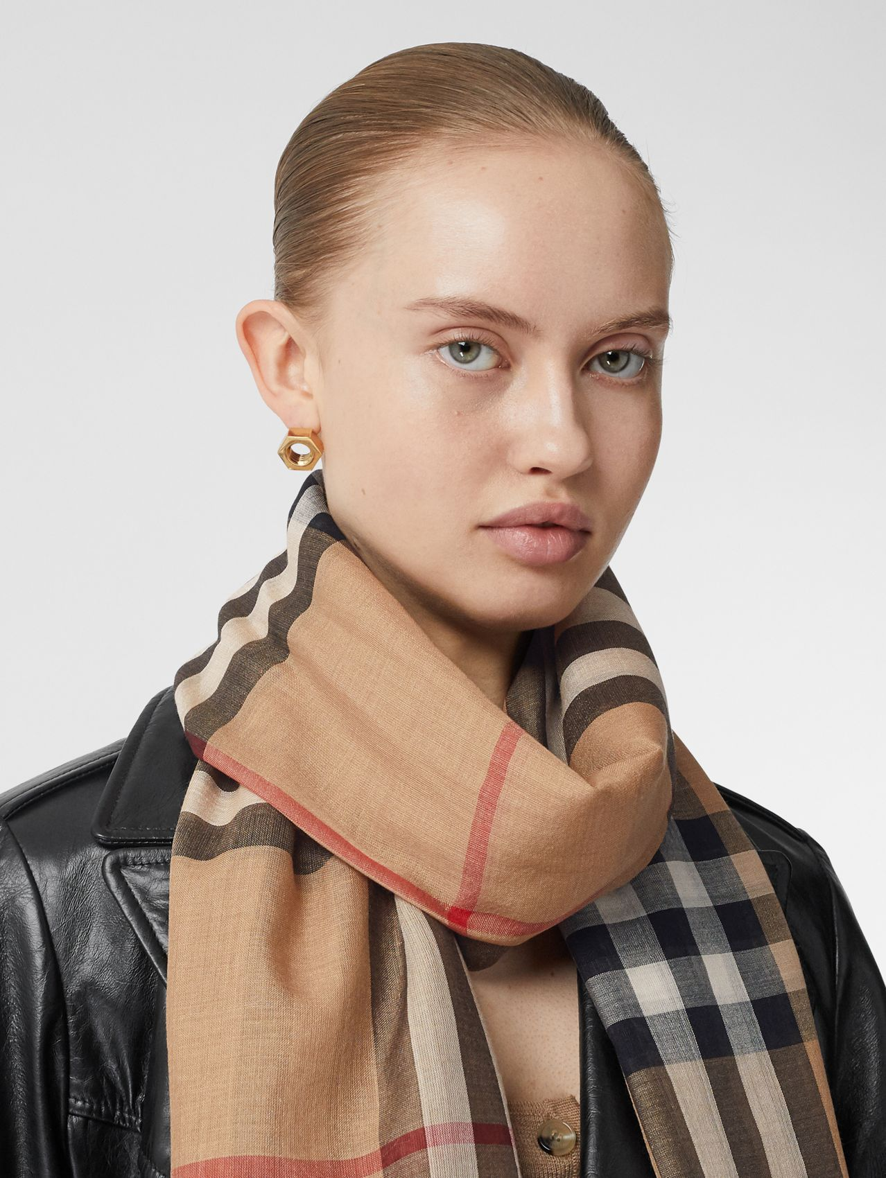 Lightweight Check Wool Silk Scarf in Archive Beige