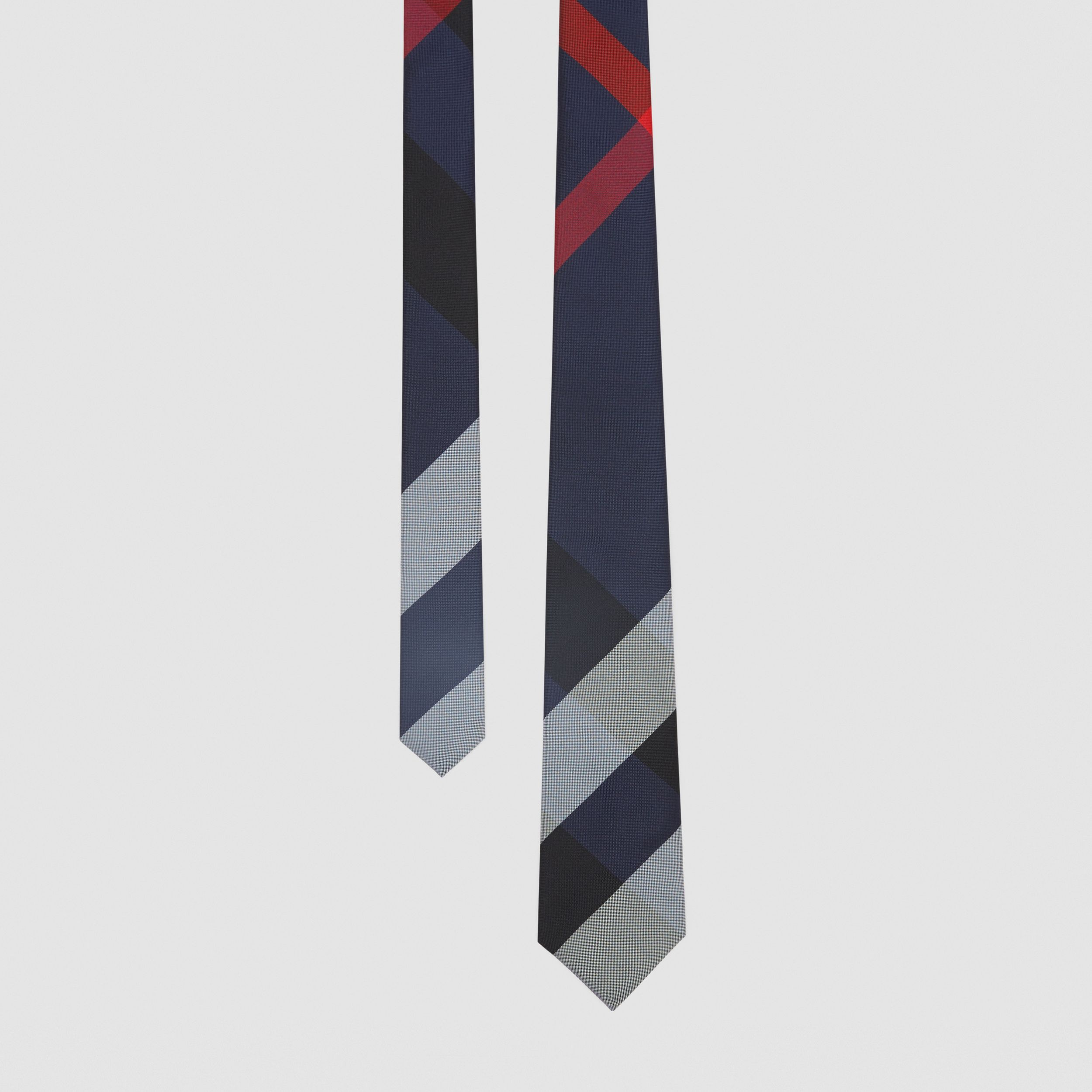 Modern Cut Oversized Check Silk Tie in Navy - Men | Burberry United Kingdom - 1