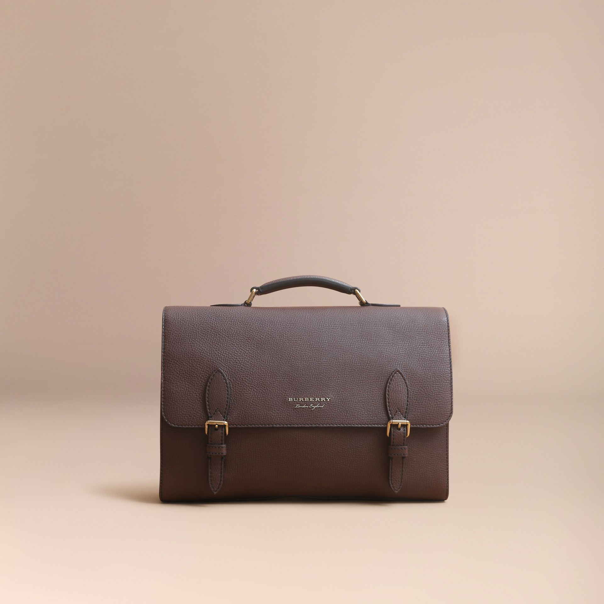 Leather and House Check Satchel in Oak Brown - Men | Burberry - gallery image 8