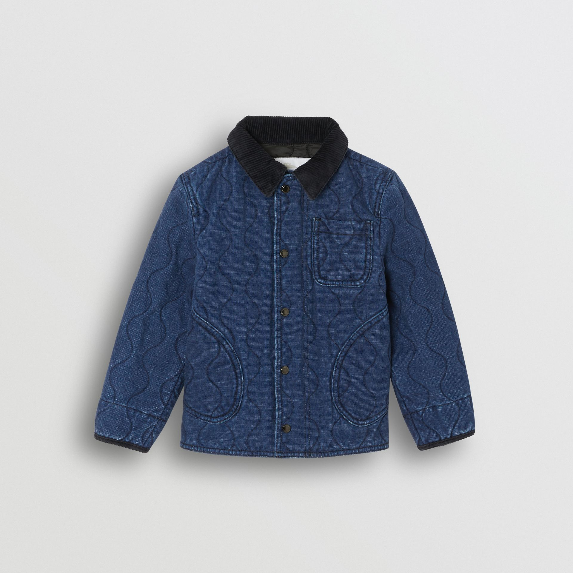 Quilted Denim Jacket in Indigo - Children | Burberry - gallery image 0