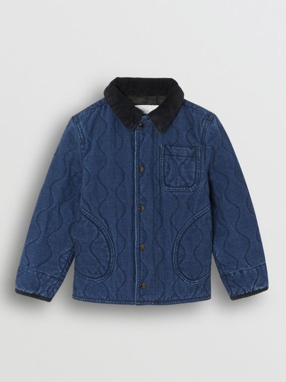 Quilted Denim Jacket in Indigo