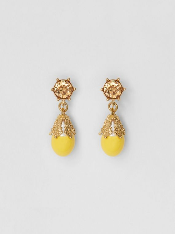 Gold-plated Faux Pearl Charm Earrings in Light Topaz/light