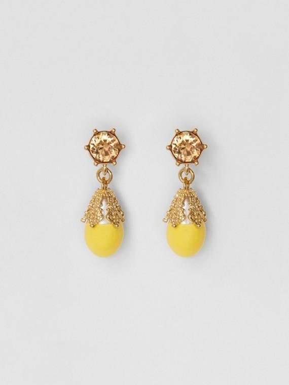 Boucles d'oreilles plaquées or avec perle de synthèse (Topaze Claire/or Clair)