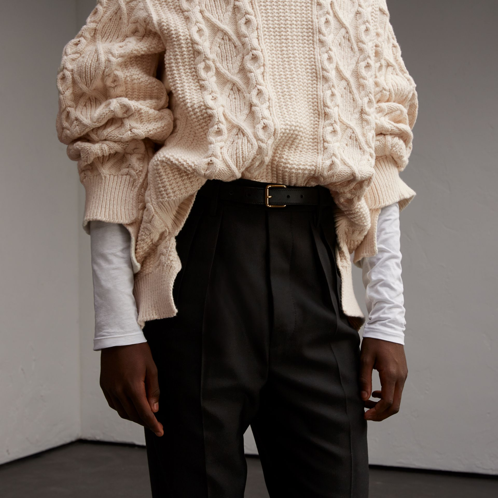 Cotton, Wool and Cashmere Blend Sculptural Sweater - Men | Burberry - gallery image 5