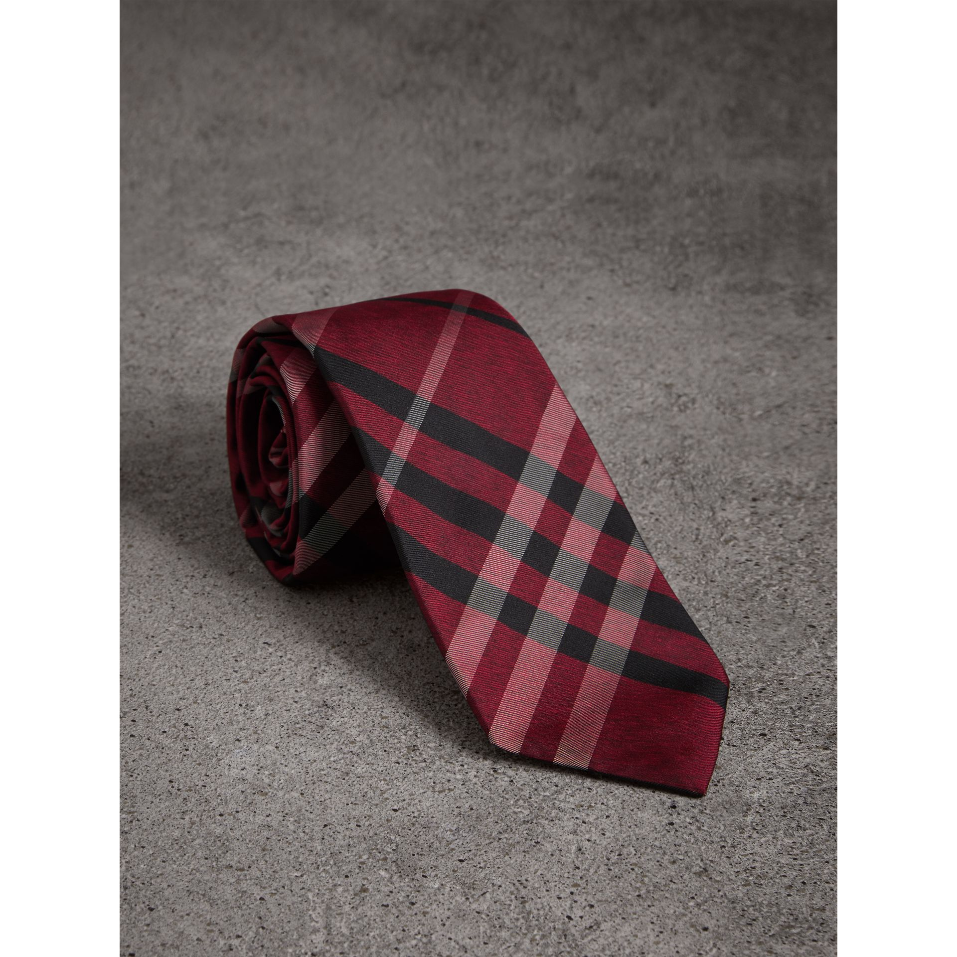 Modern Cut Check Silk Tie in Crimson Red - Men | Burberry United Kingdom - gallery image 1