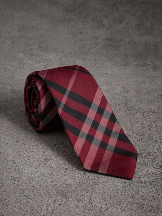 Modern Cut Check Silk Tie in Crimson Red