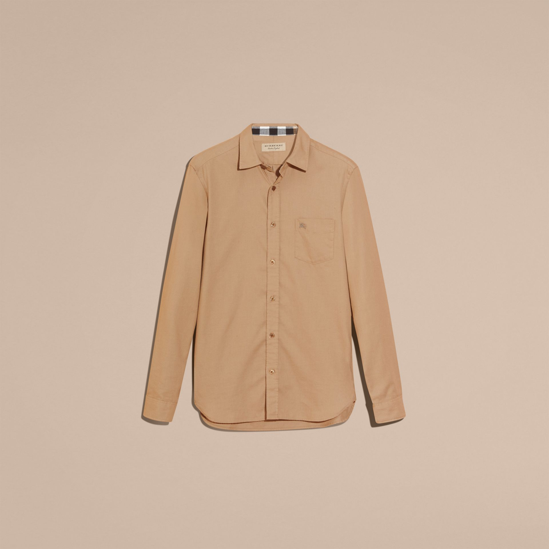 Miele scuro Camicia in flanella di cotone con dettagli tartan - immagine della galleria 3