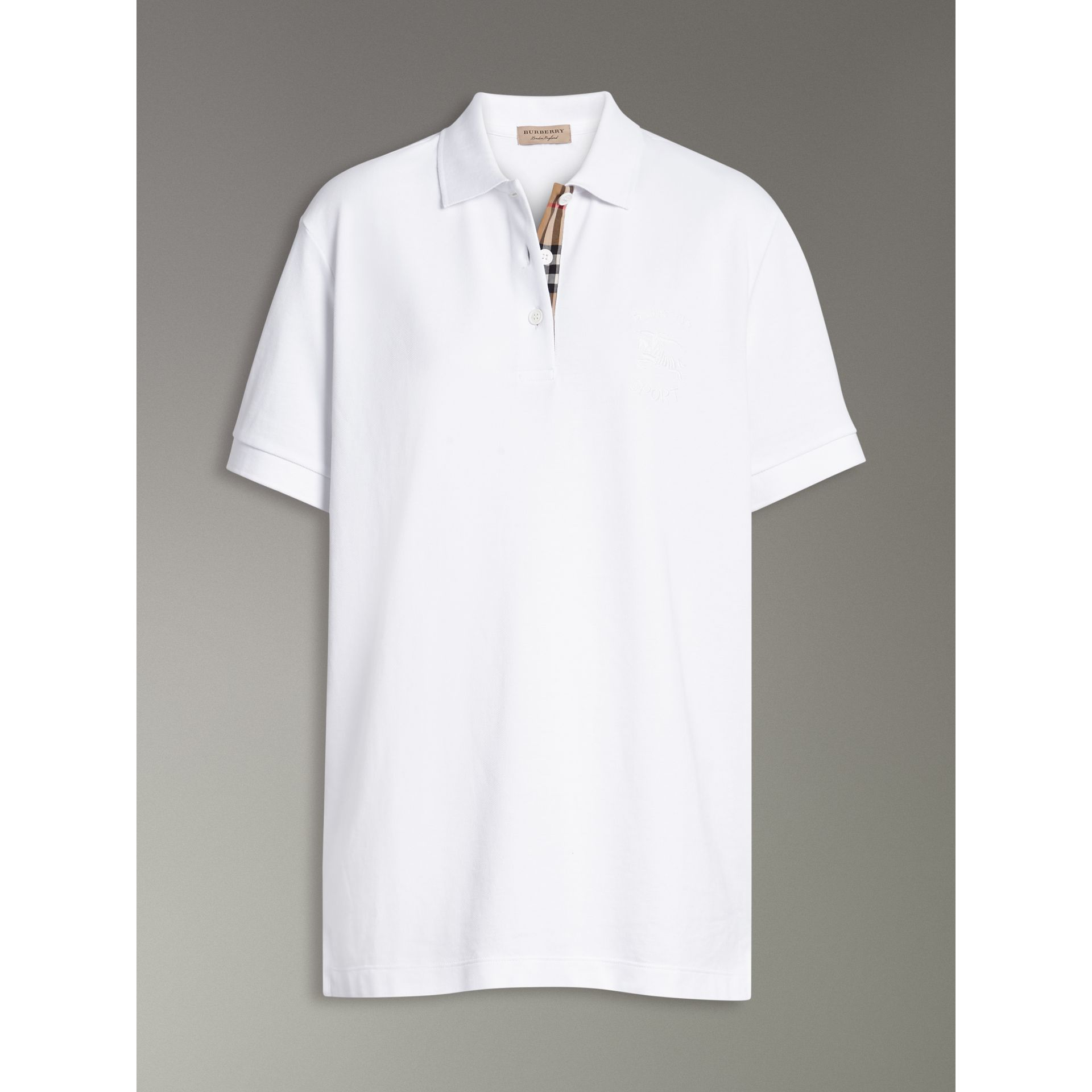 Check Placket Cotton Piqué Polo Shirt in White - Women | Burberry - gallery image 3