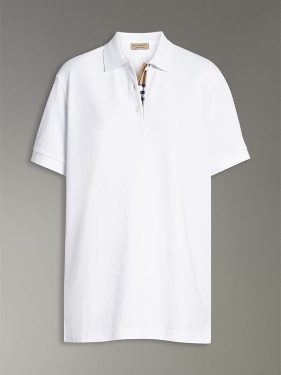 Check Placket Cotton Piqué Polo Shirt in White - Women | Burberry - cell image 3