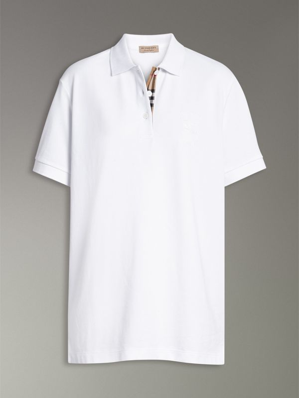 Check Placket Cotton Piqué Polo Shirt in White - Women | Burberry United States - cell image 3