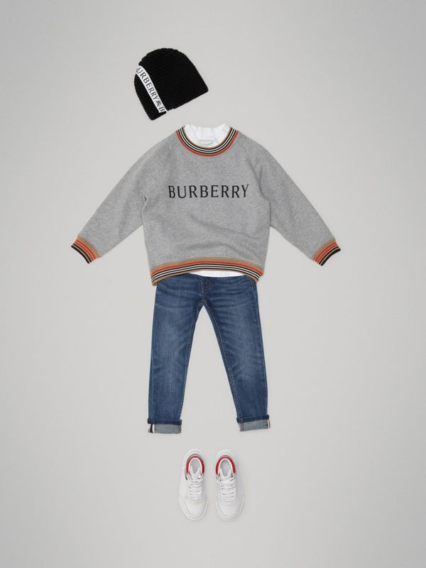 Heritage Stripe Detail Embroidered Cotton Sweatshirt in Grey Melange - Boy | Burberry - cell image 2