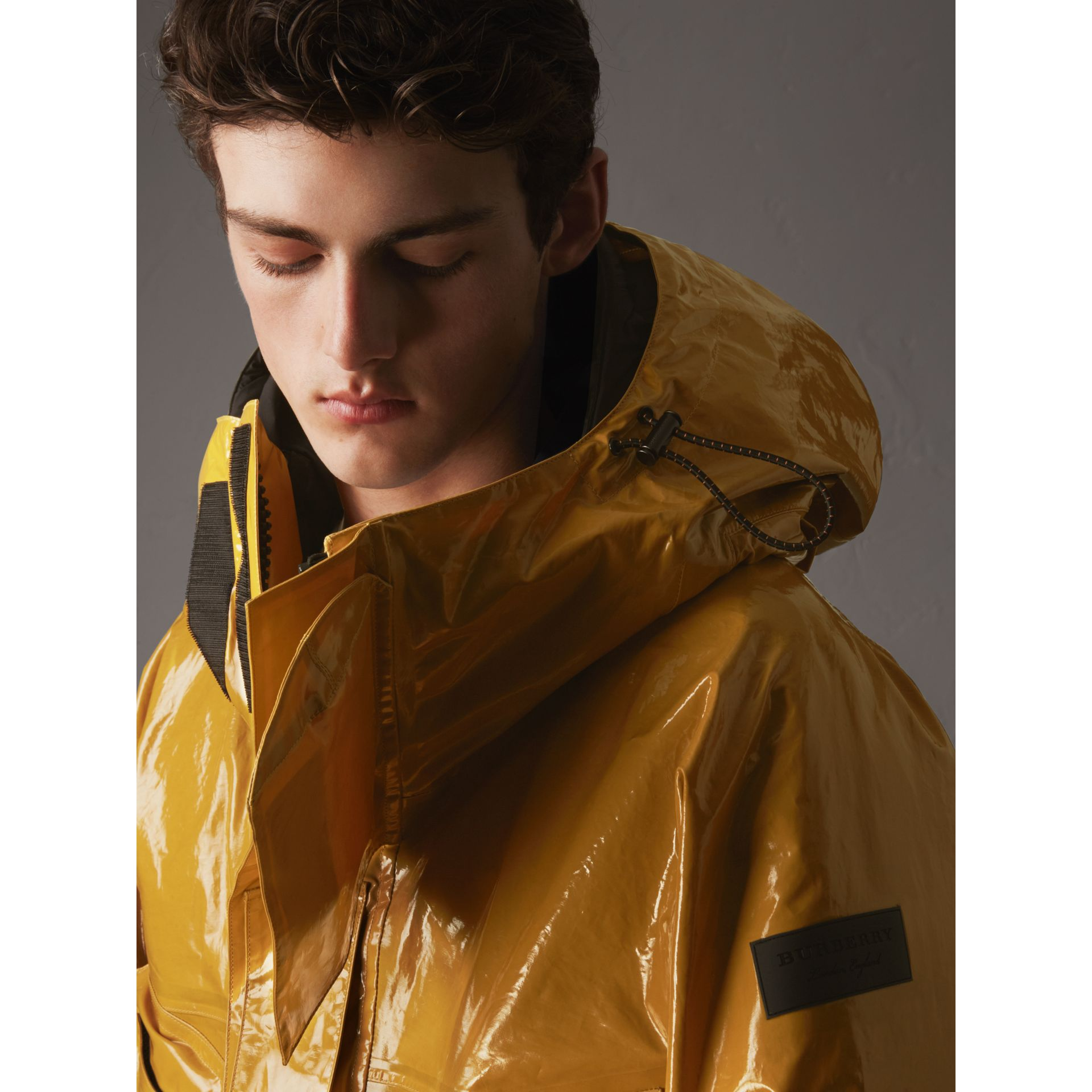 Seam-sealed Weatherproof Coat with Down-filled Warmer in Amber Yellow - Men | Burberry - gallery image 2