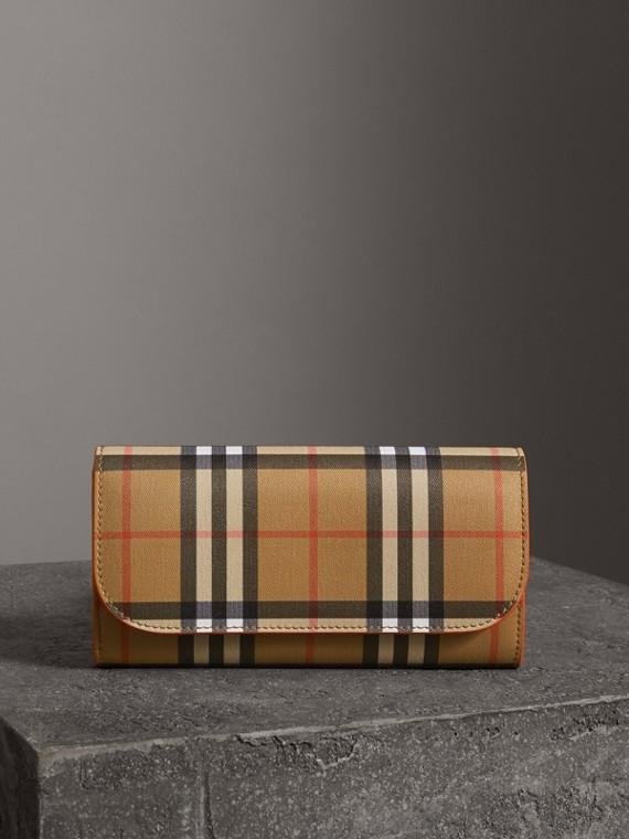 Portefeuille continental en cuir et à motif Vintage check (Clémentine)