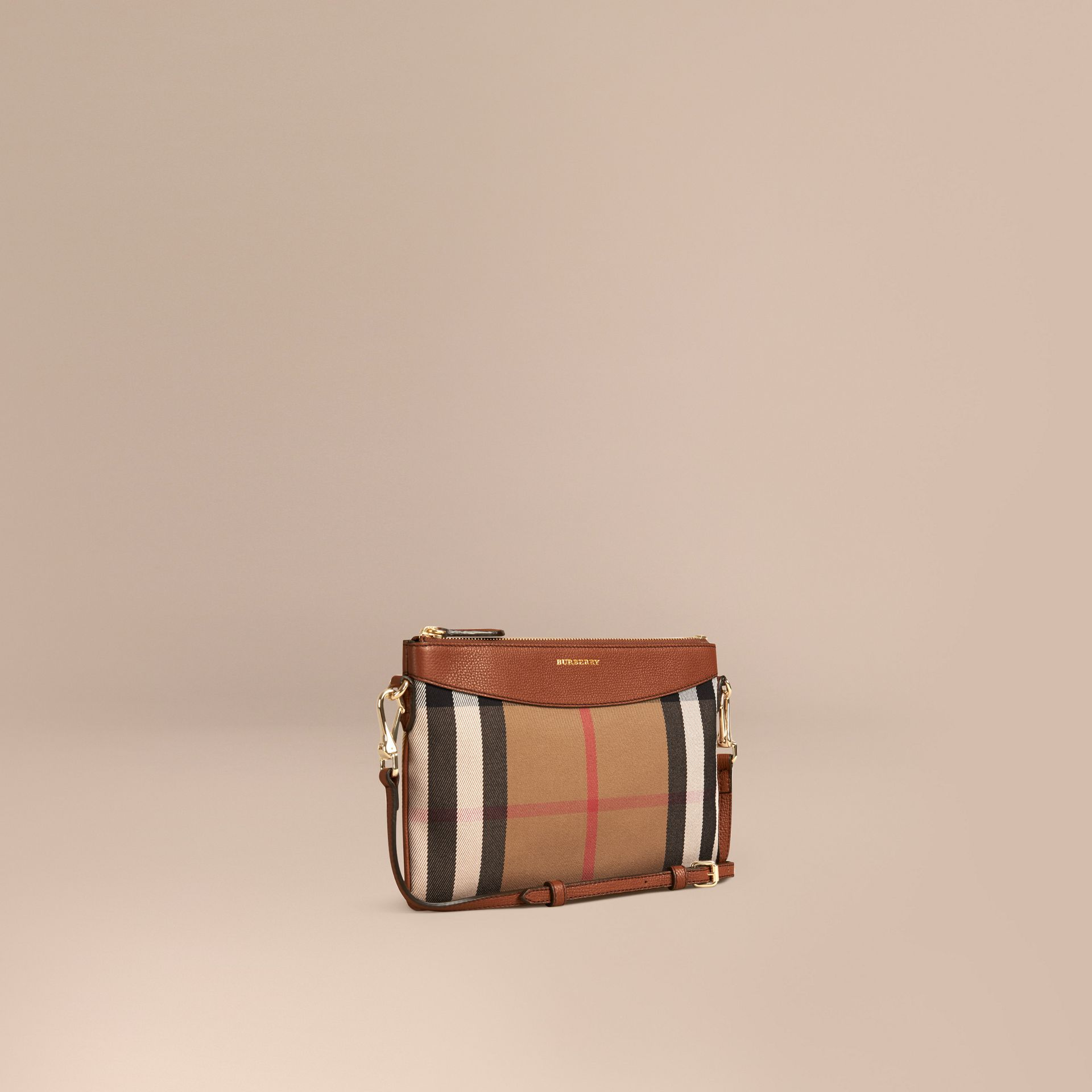 House Check and Leather Clutch Bag in Tan - gallery image 1