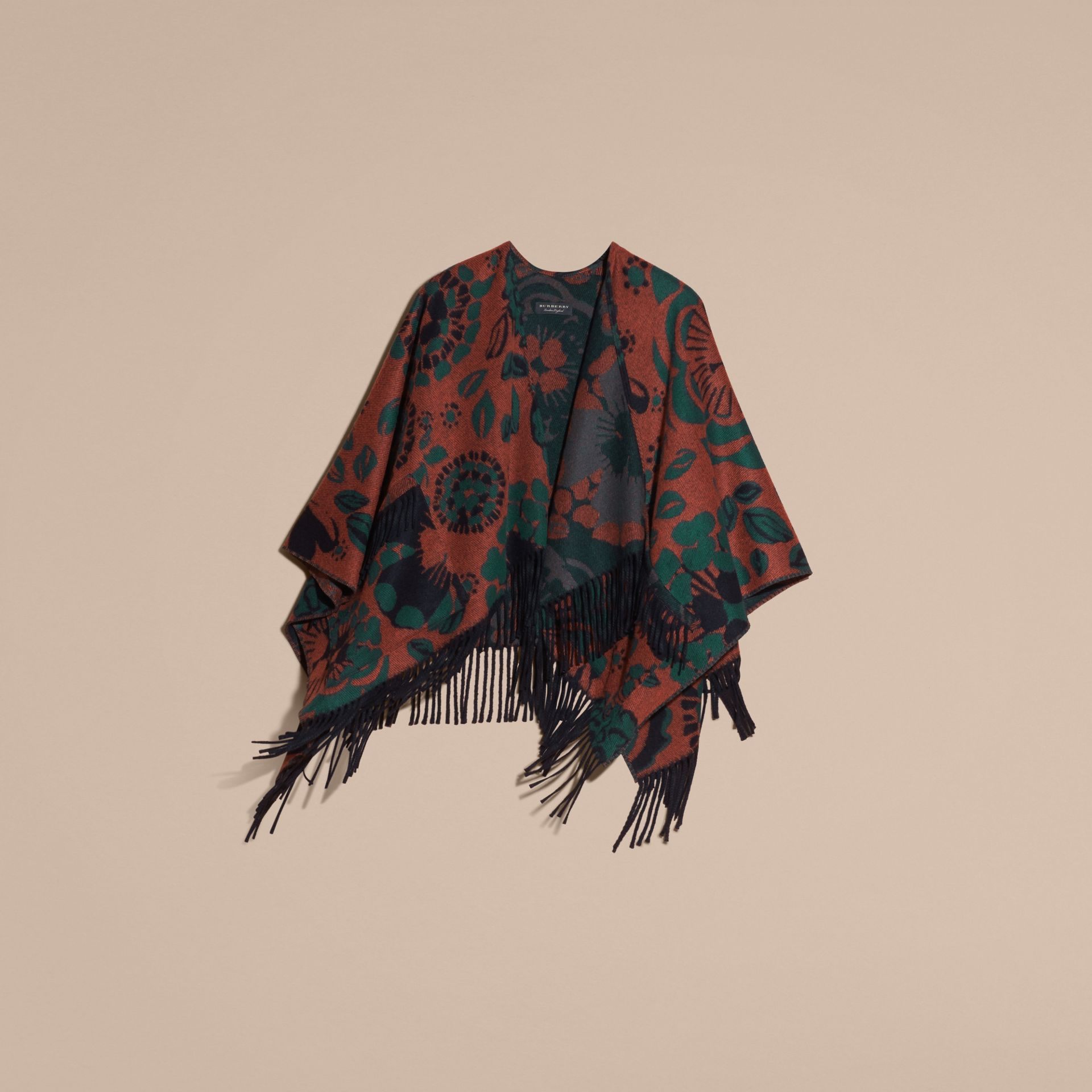 Burnt sienna Floral Jacquard Cashmere Poncho - gallery image 4