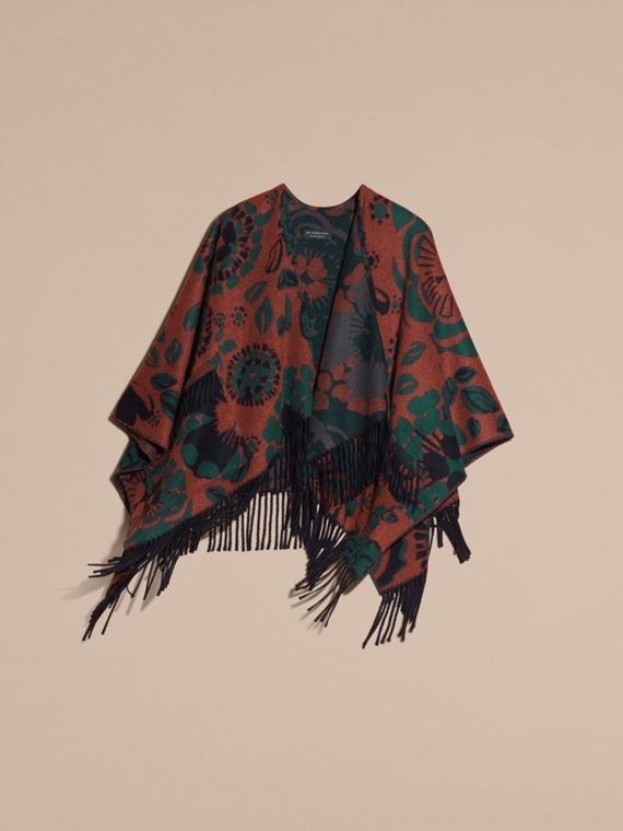 Burnt sienna Floral Jacquard Cashmere Poncho - cell image 3