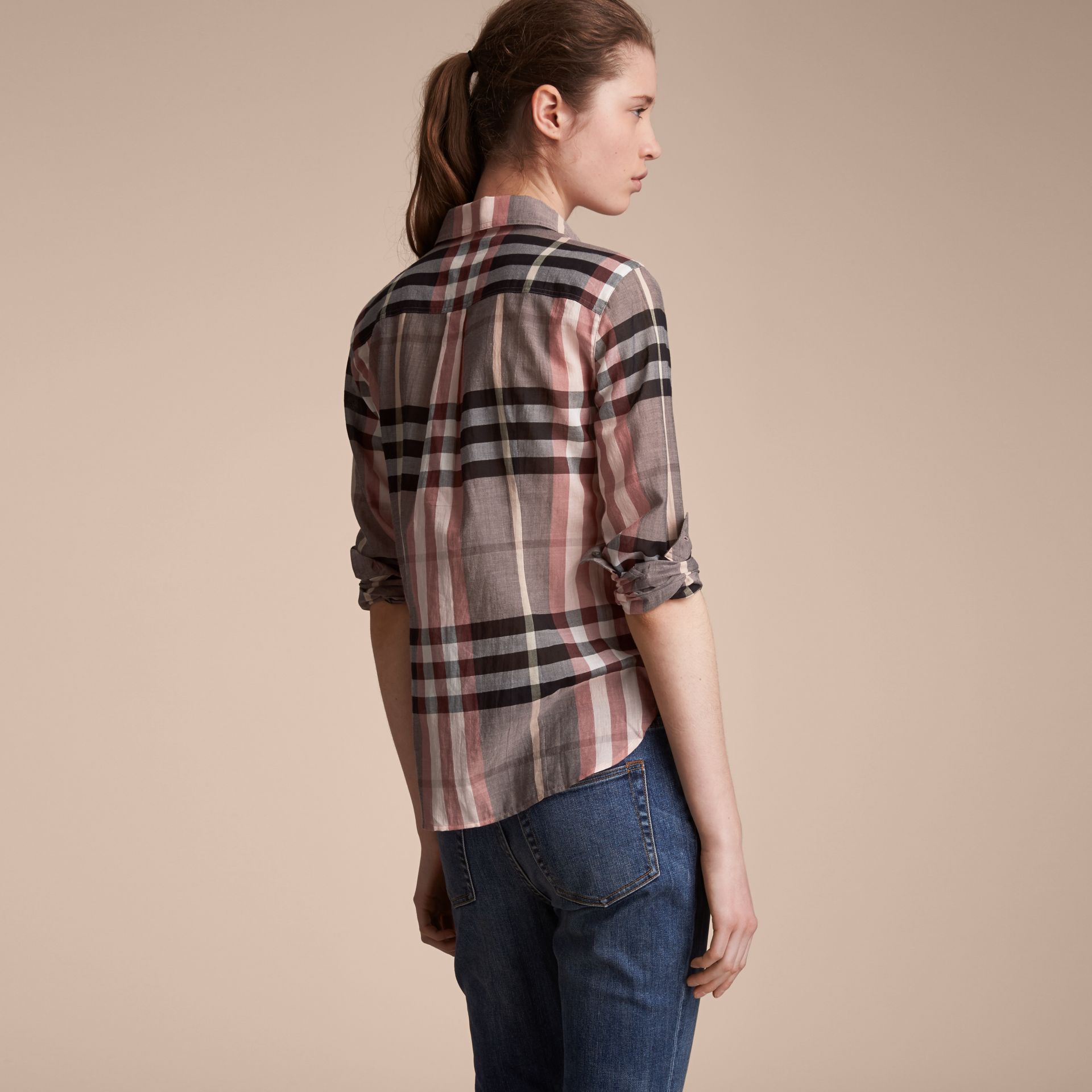 Check Cotton Shirt in Dusty Pink - Women | Burberry - gallery image 3