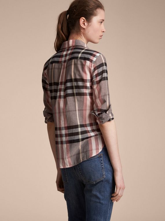 Check Cotton Shirt in Dusty Pink - Women | Burberry Singapore - cell image 2