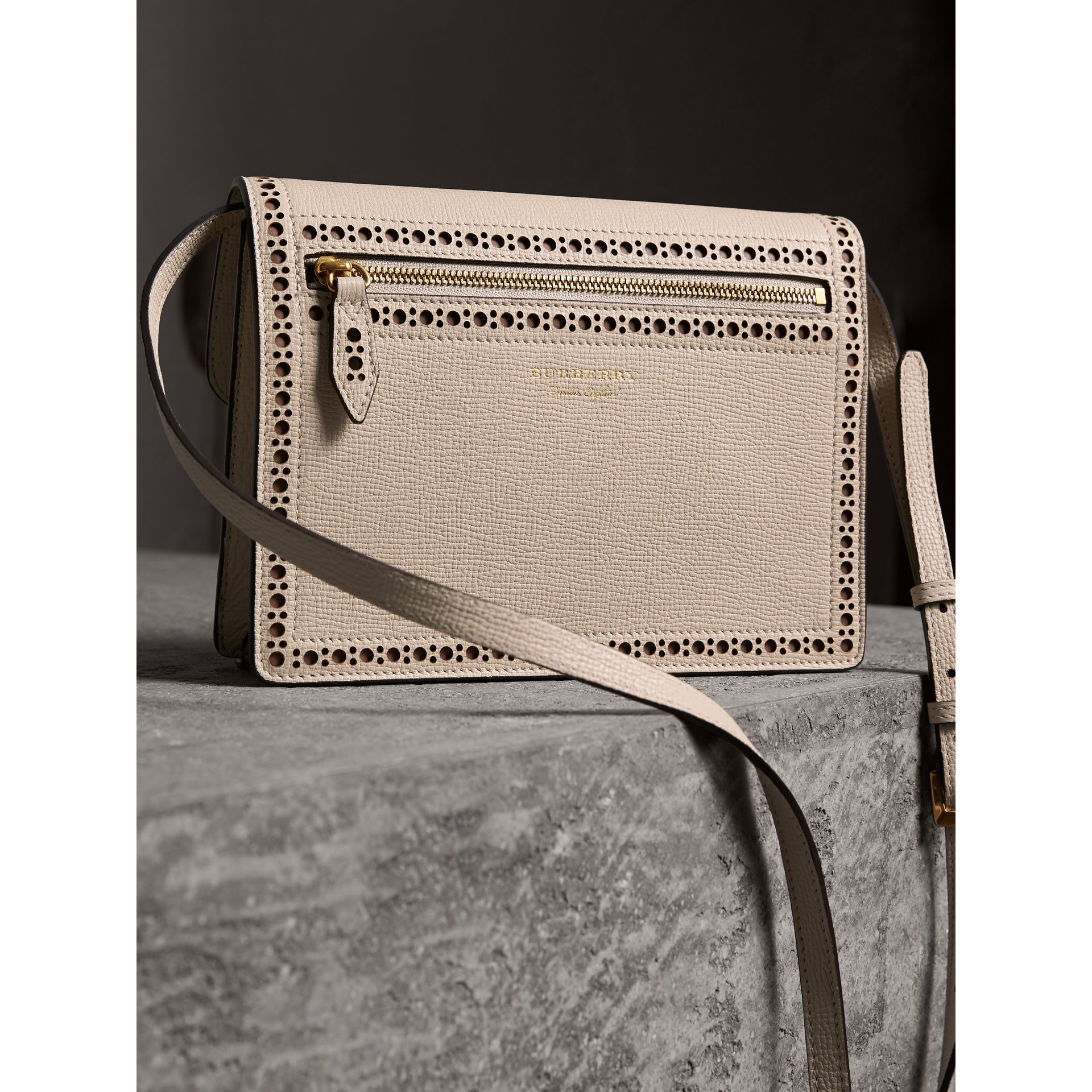 Brogue and Fringe Detail Leather Crossbody Bag in Limestone - Women | Burberry - gallery image 3