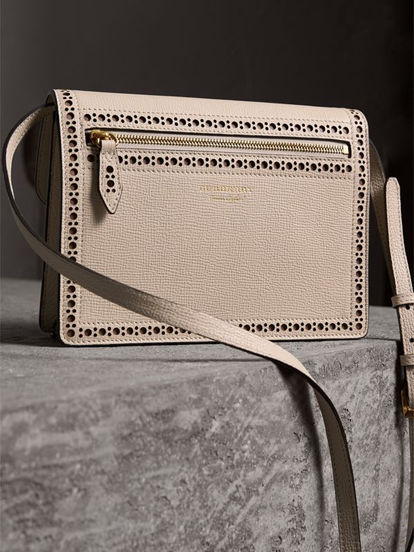Brogue and Fringe Detail Leather Crossbody Bag in Limestone - Women | Burberry - cell image 3