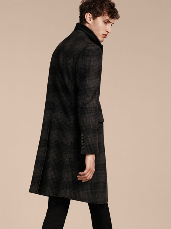 Charcoal melange Tailored Check Wool Cashmere Coat - cell image 2