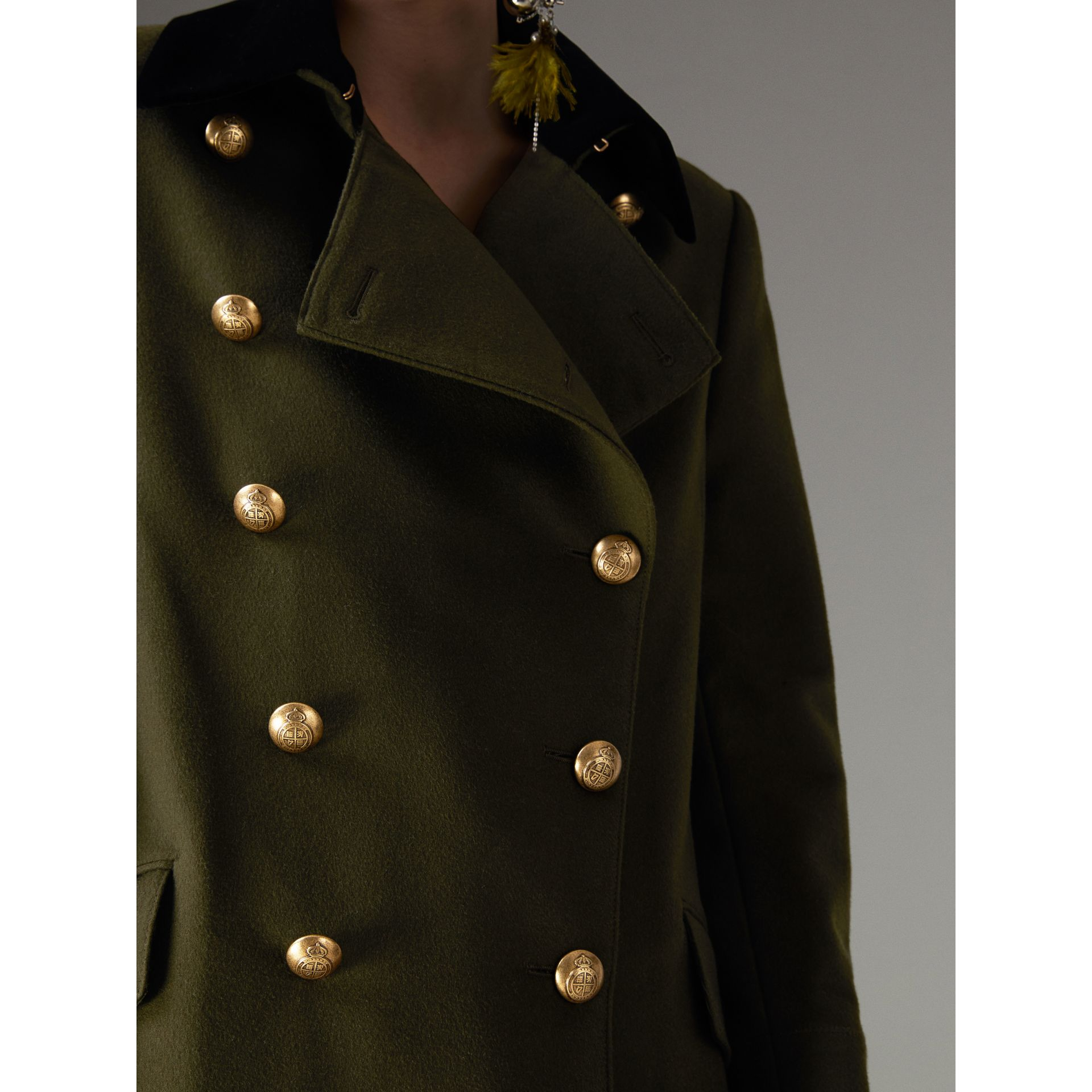 Velvet Collar Wool Military Coat in Olive - Women | Burberry - gallery image 1