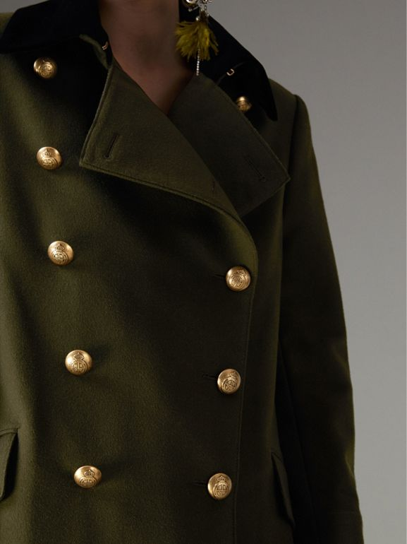 Velvet Collar Wool Military Coat in Olive - Women | Burberry - cell image 1