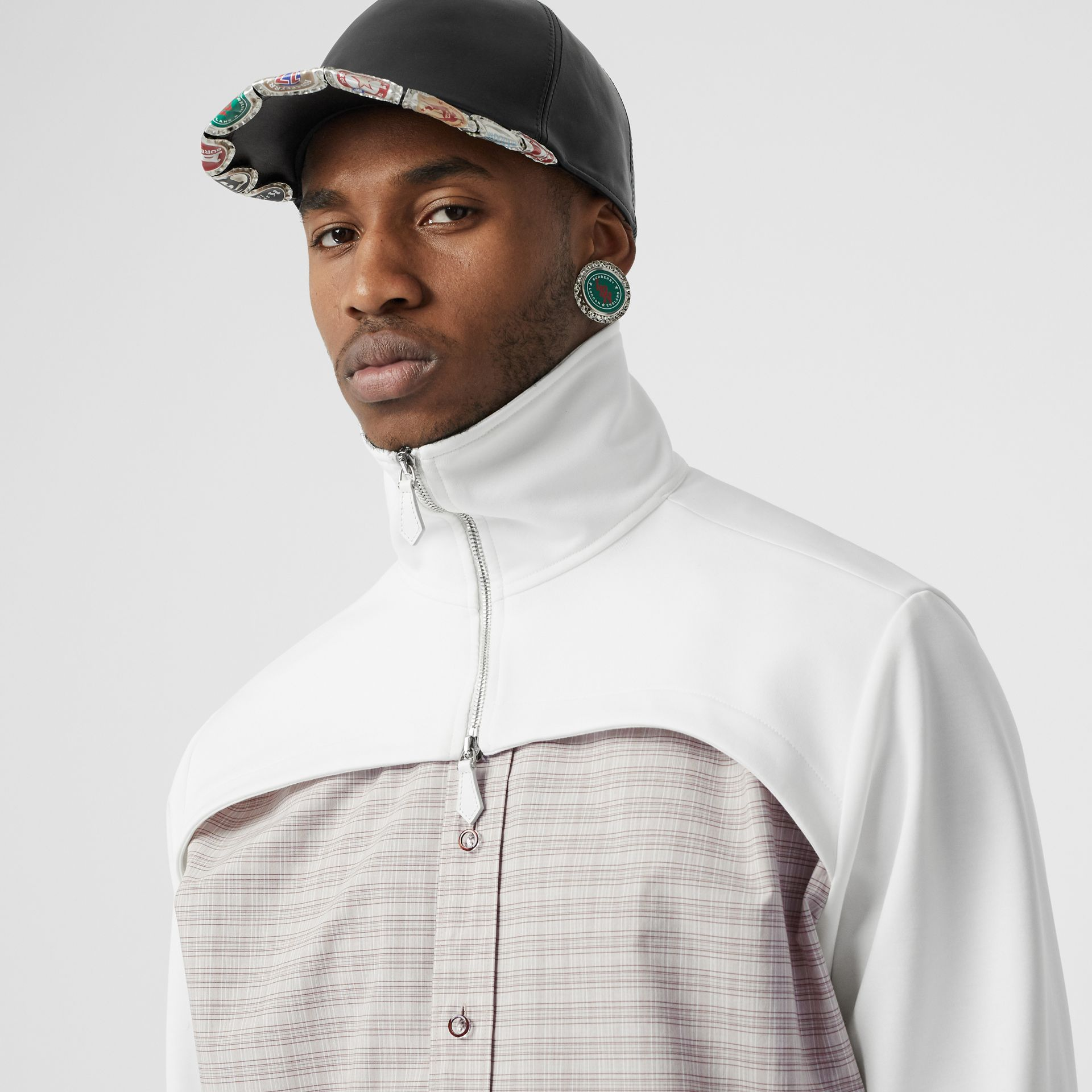 Track Top Detail Small Scale Check Cotton Shirt in Beige/natural White - Men | Burberry - gallery image 1