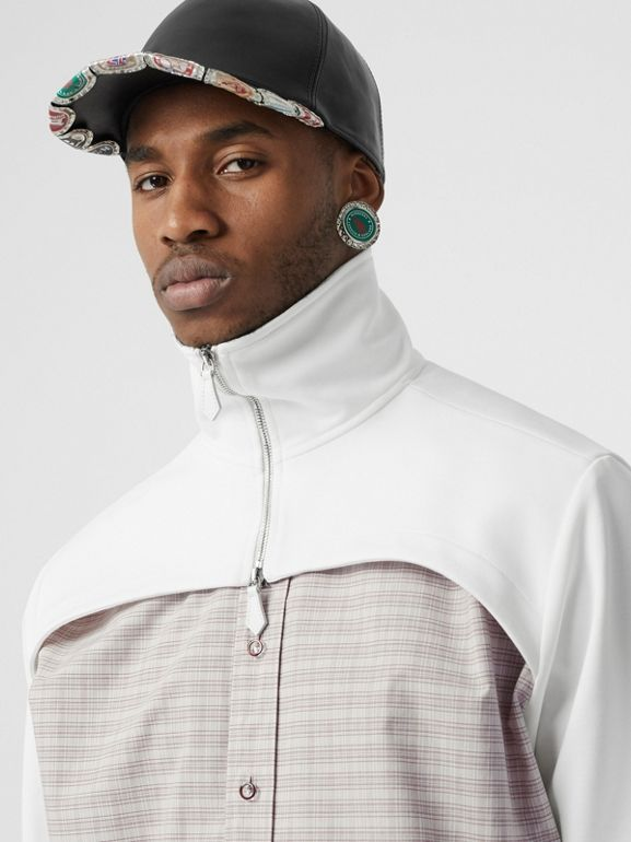 Track Top Detail Small Scale Check Cotton Shirt in Beige/natural White - Men | Burberry - cell image 1