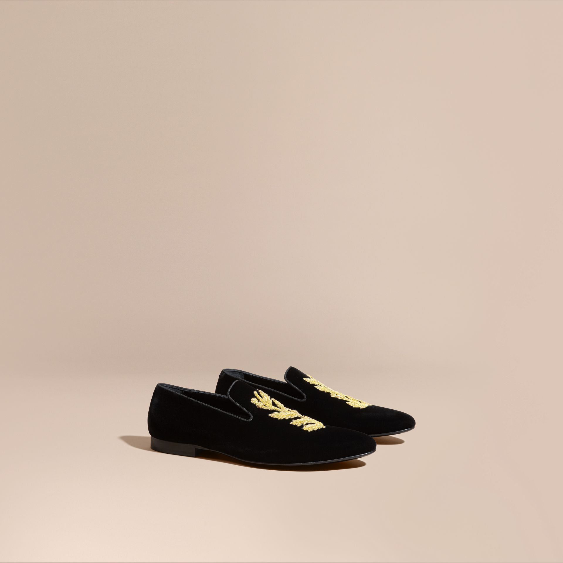 Black Embroidered Velvet Loafers - gallery image 1