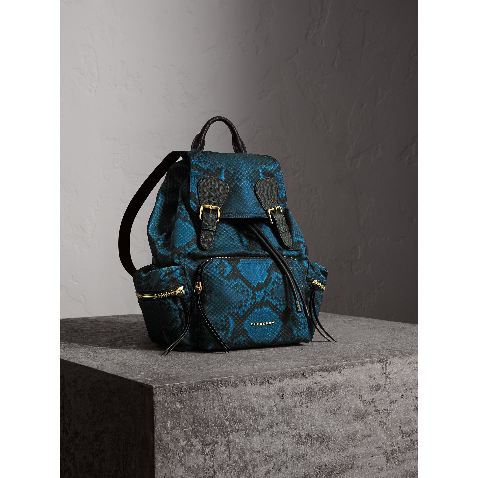 The Medium Rucksack in Python Print Nylon and Leather in Blue - gallery image 7